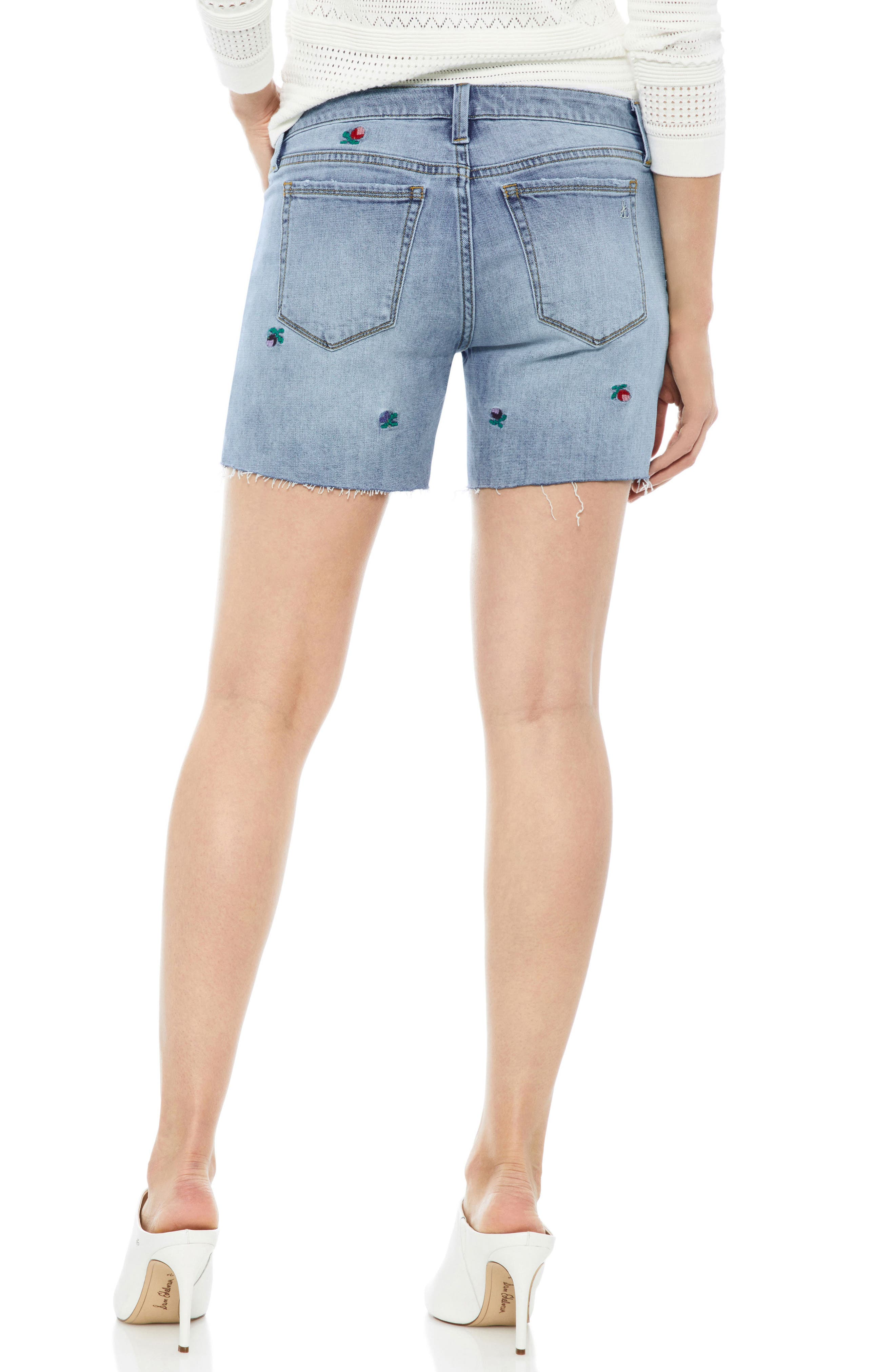 The Derby Embroidered Denim Bermuda Shorts,                             Alternate thumbnail 2, color,                             FANNIE