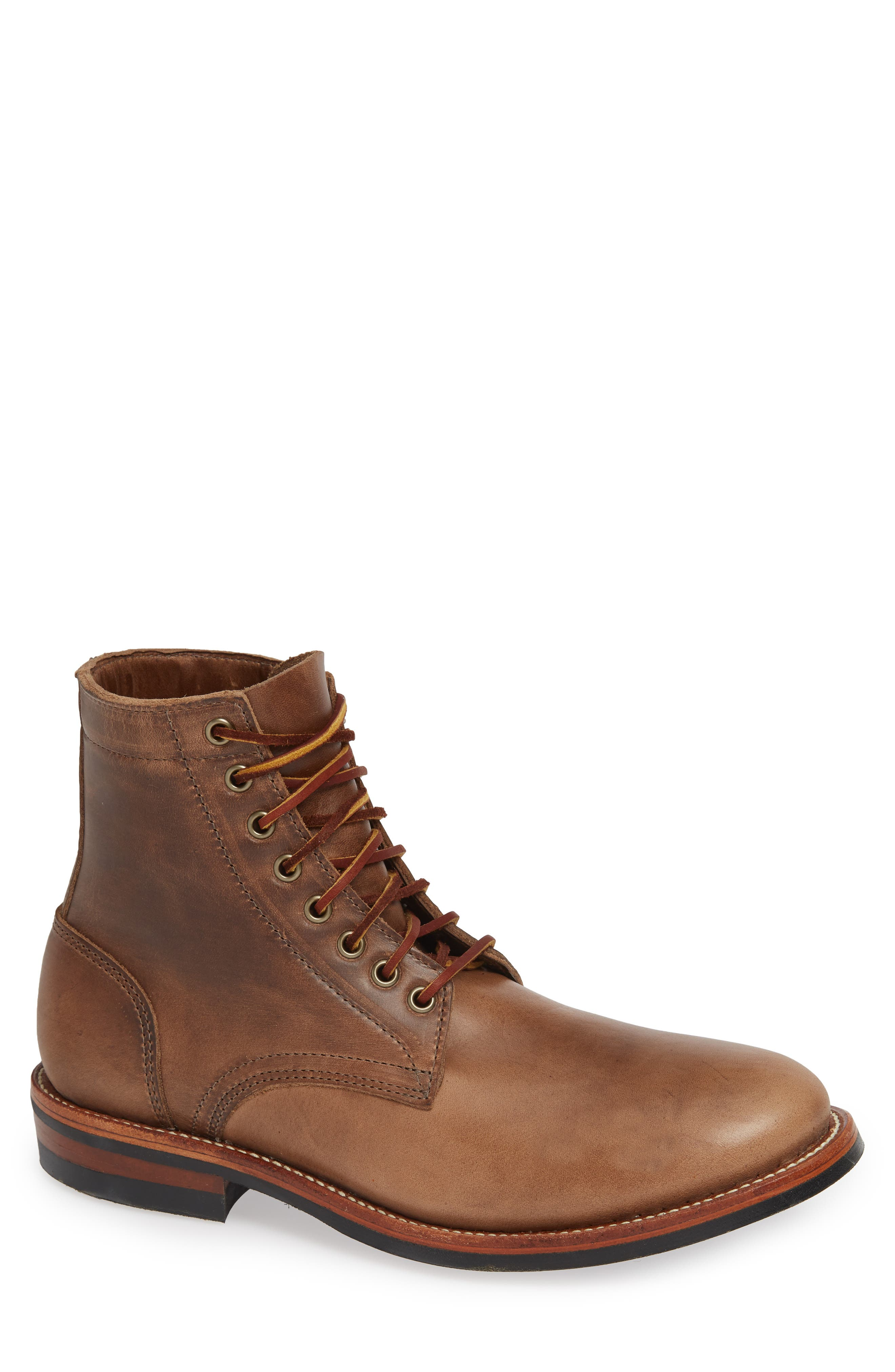 OAK STREET BOOTMAKERS Trench Plain Toe Boot in Natural Leather
