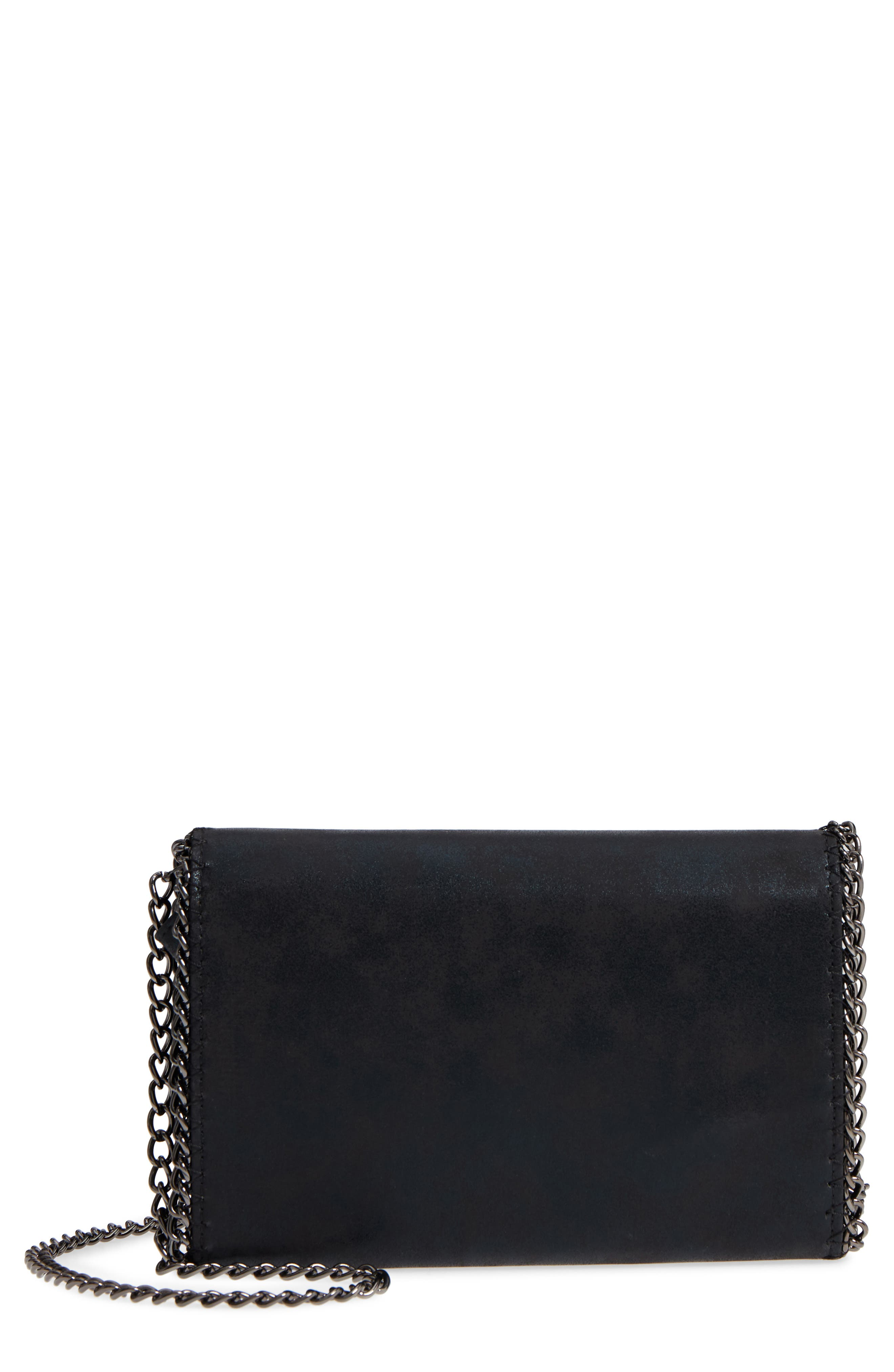 Faux Leather Wallet on a Chain,                             Main thumbnail 1, color,                             BLACK