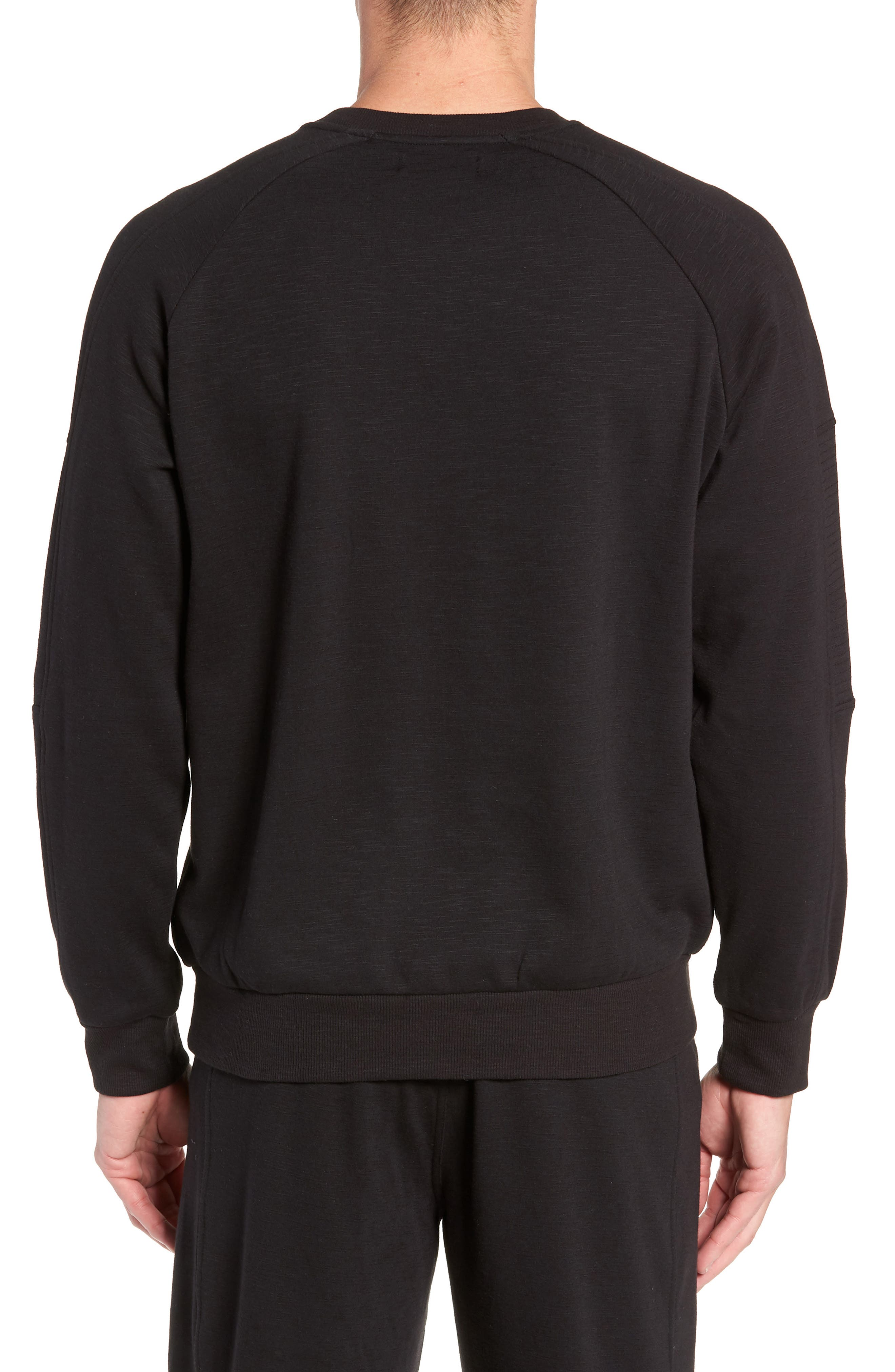 French Terry Moto Pullover,                             Alternate thumbnail 2, color,                             BLACK HEATHER
