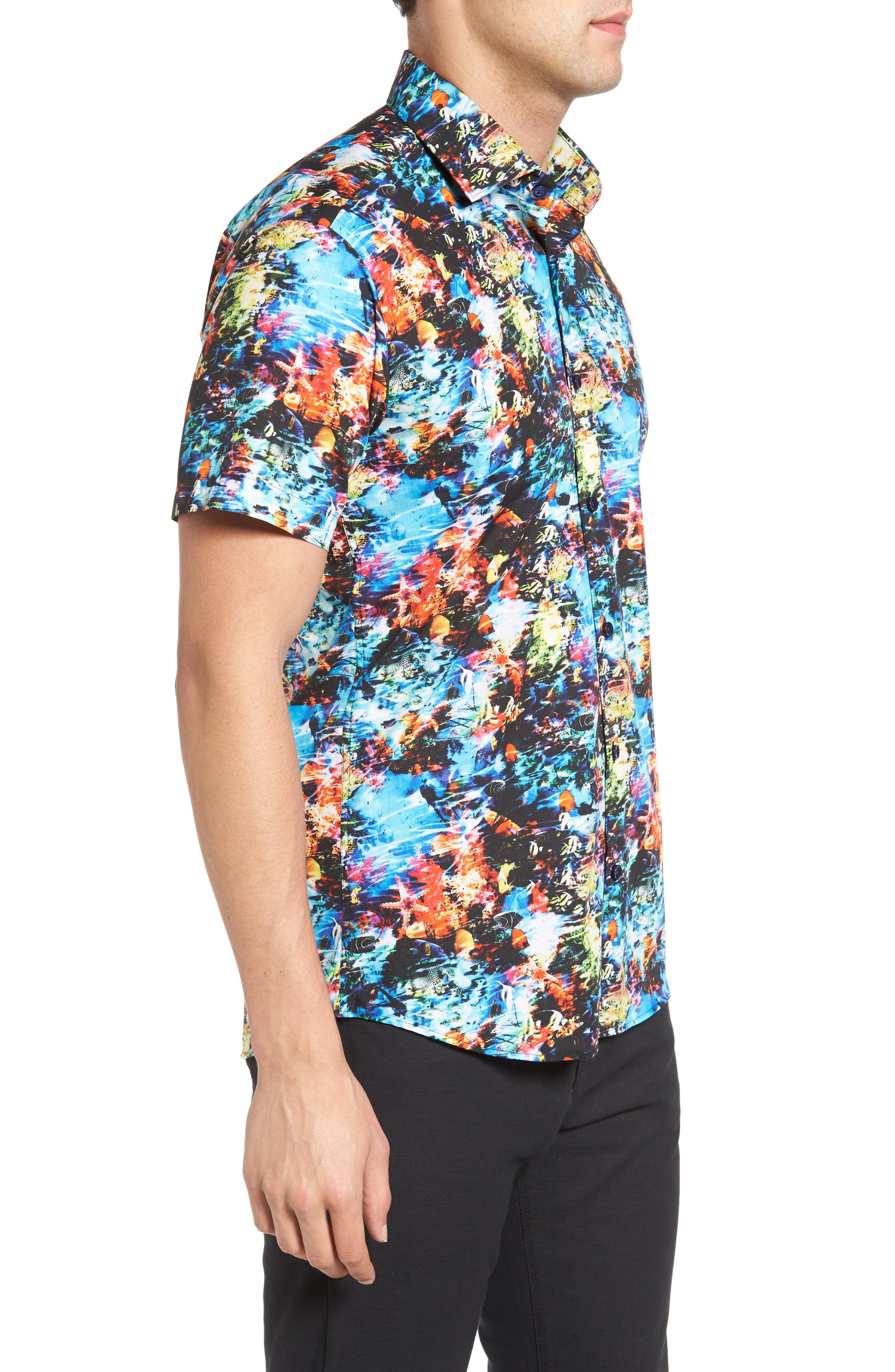 Trim Fit Print Sport Shirt,                             Alternate thumbnail 3, color,                             440