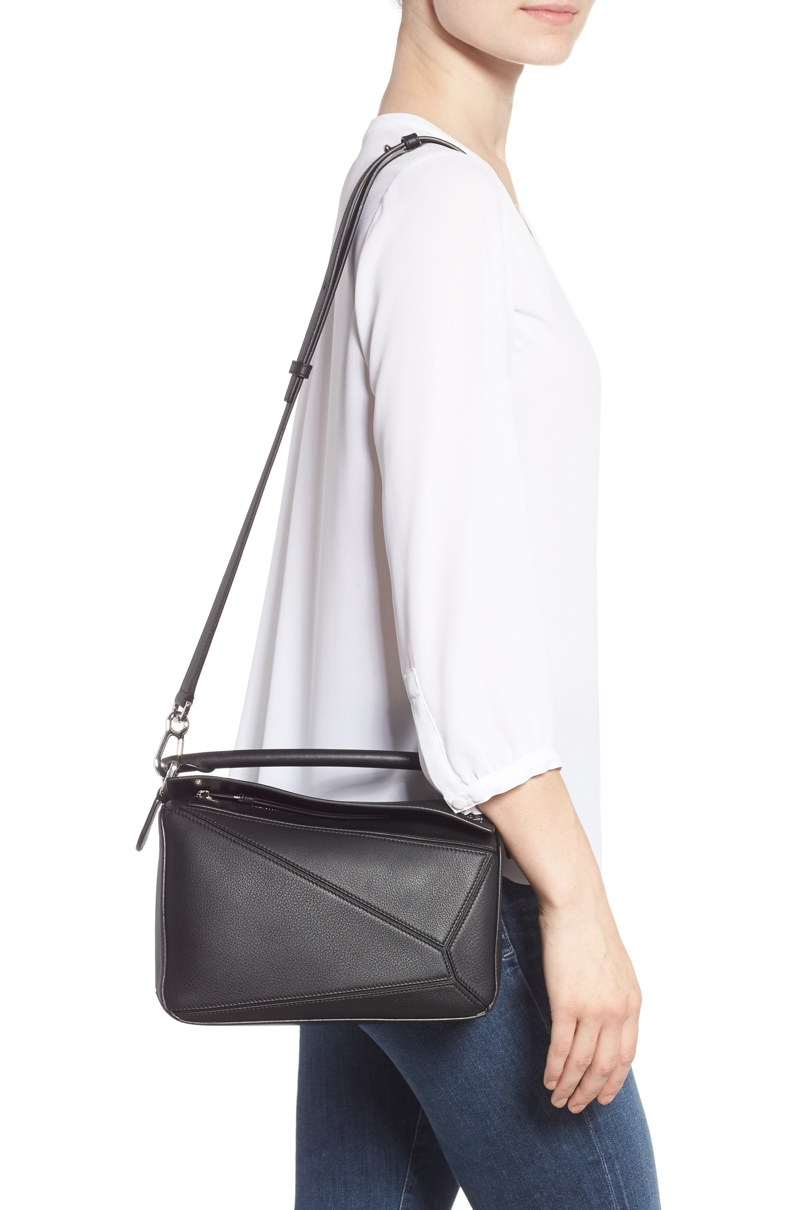 Small Puzzle Shoulder Bag,                             Alternate thumbnail 2, color,                             BLACK