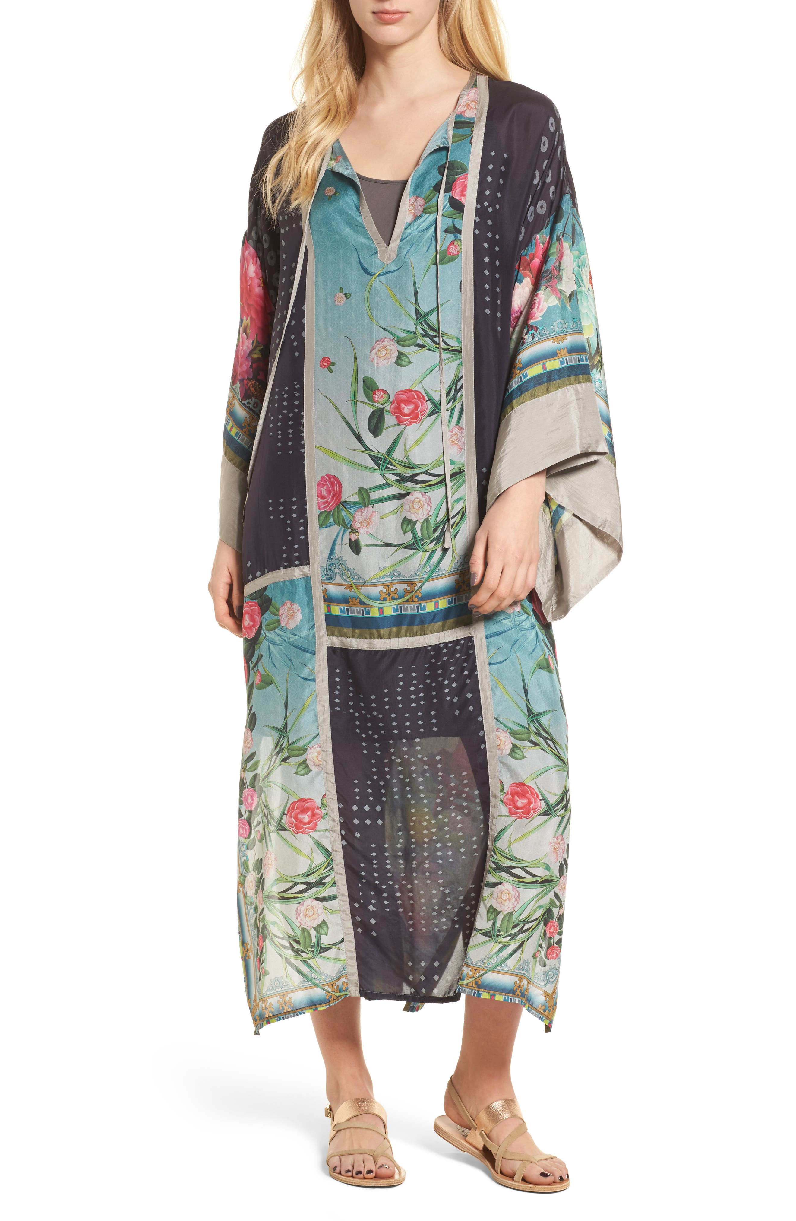 Camuba Heaven Silk Kimono Dress,                             Main thumbnail 1, color,                             010
