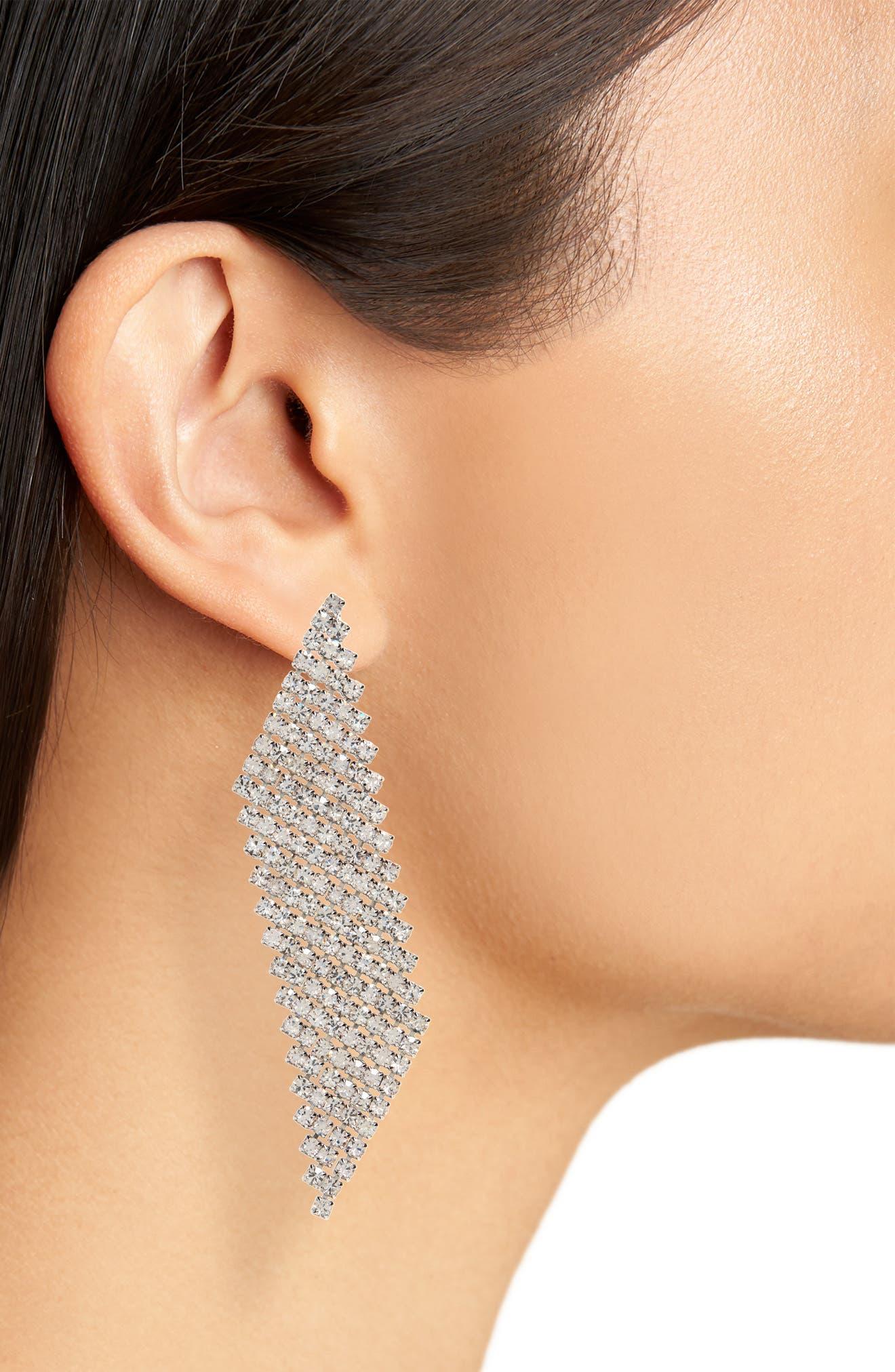 Crystal Slice Earrings,                             Alternate thumbnail 2, color,                             SILVER/ CRYSTAL