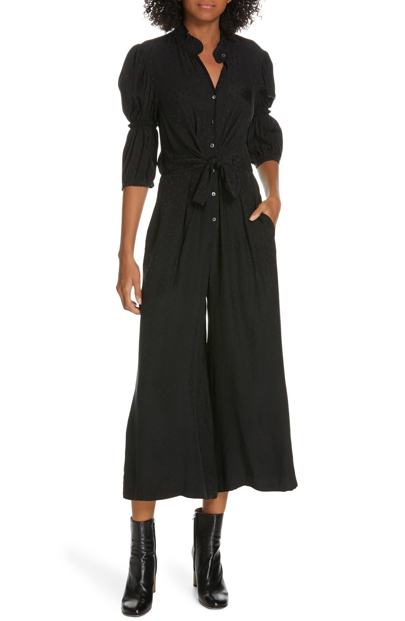 REBECCA TAYLOR Silk Jacquard Jumpsuit, Main, color, BLACK