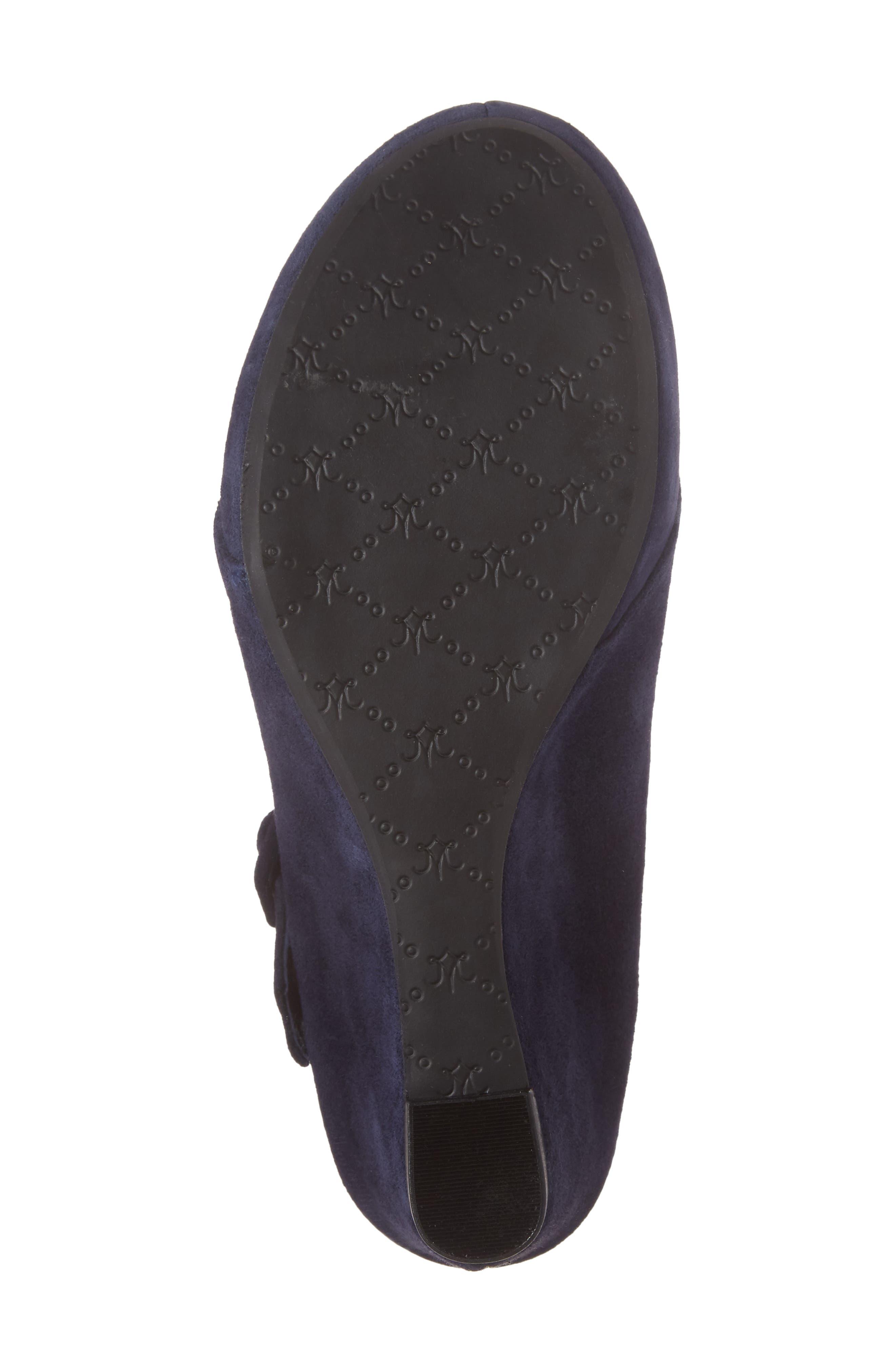 Tara Platform Wedge Sandal,                             Alternate thumbnail 6, color,                             NAVY SUEDE