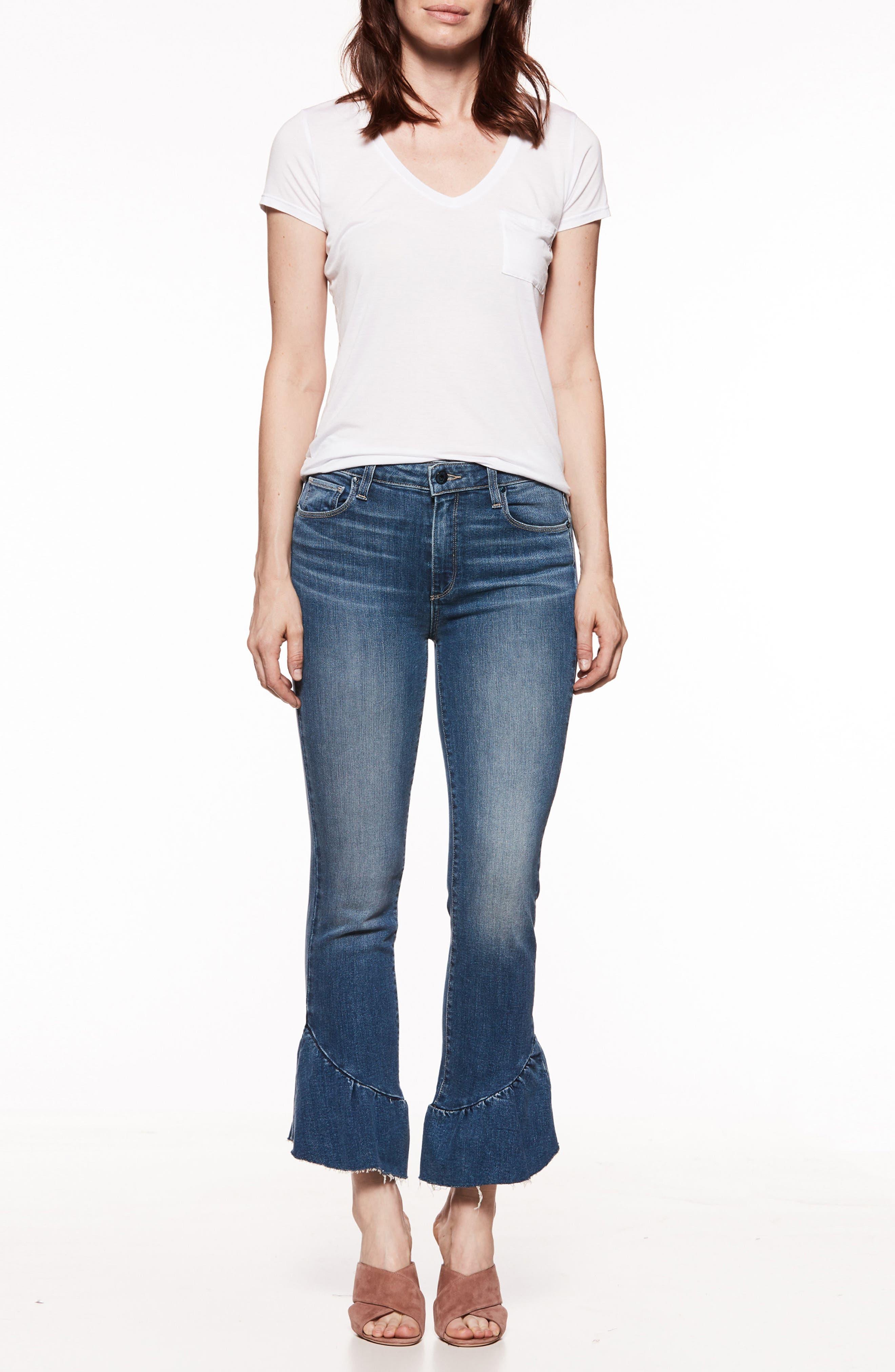 Floral Ruffle Hem Straight Leg Jeans,                             Alternate thumbnail 3, color,                             400