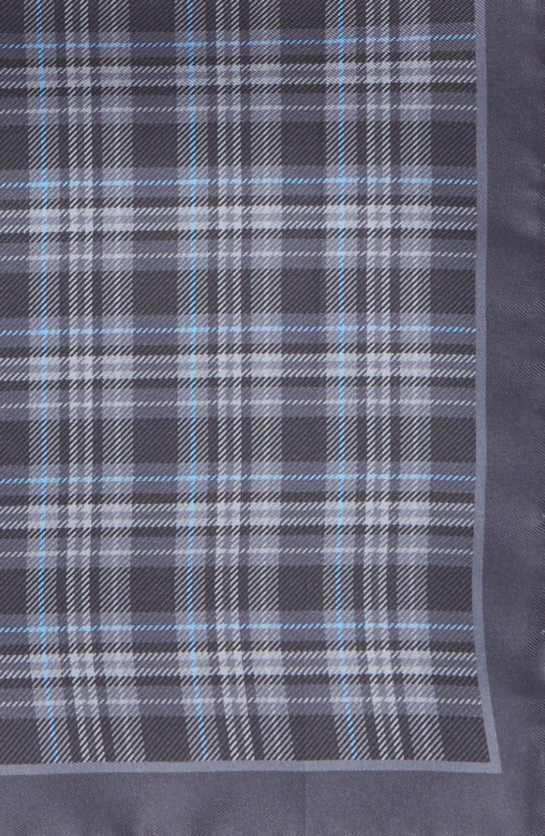 Plaid Silk Pocket Square,                             Alternate thumbnail 3, color,                             030