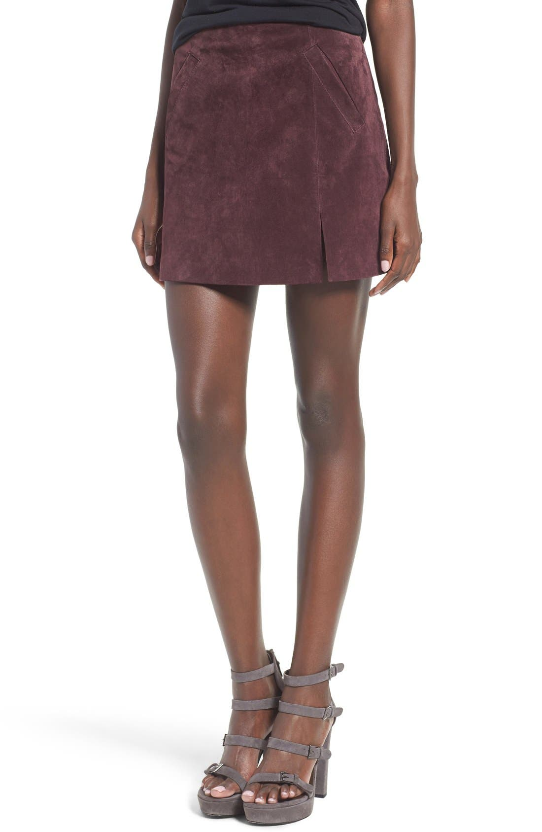 Suede Miniskirt,                             Main thumbnail 7, color,