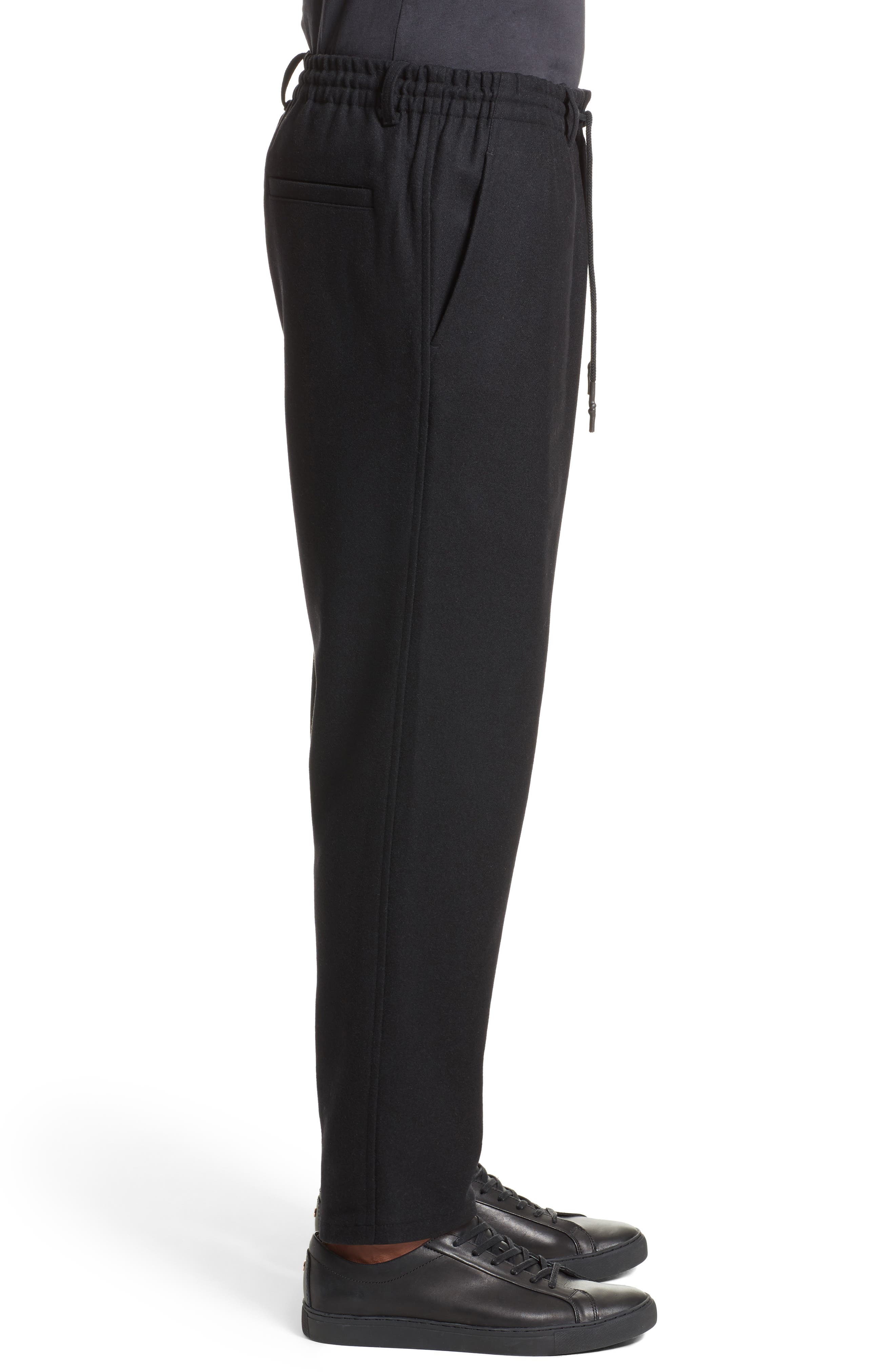 Cropped Wool Blend Pants,                             Alternate thumbnail 4, color,                             001
