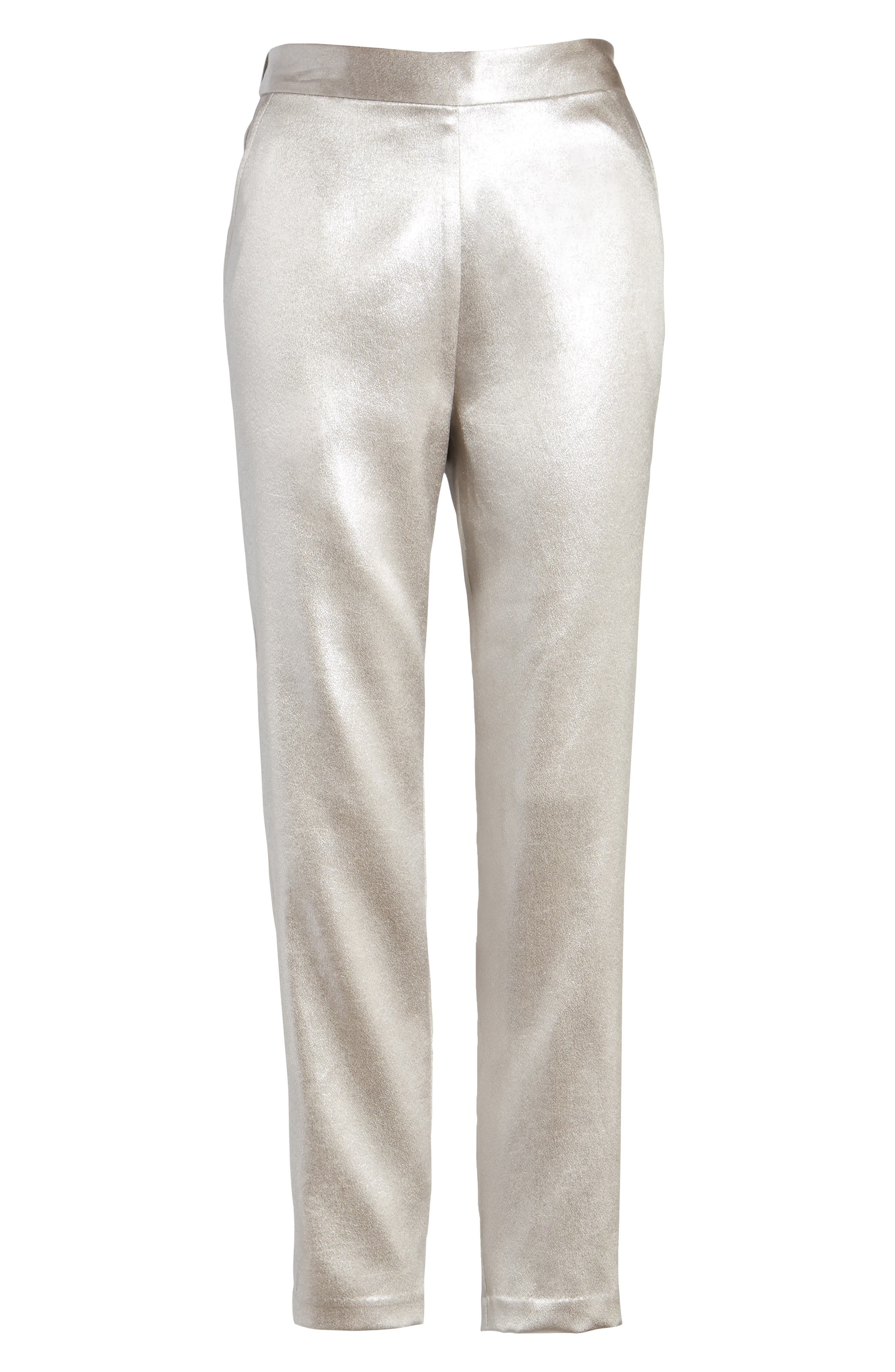 Satin High Waist Ankle Pants,                             Alternate thumbnail 6, color,