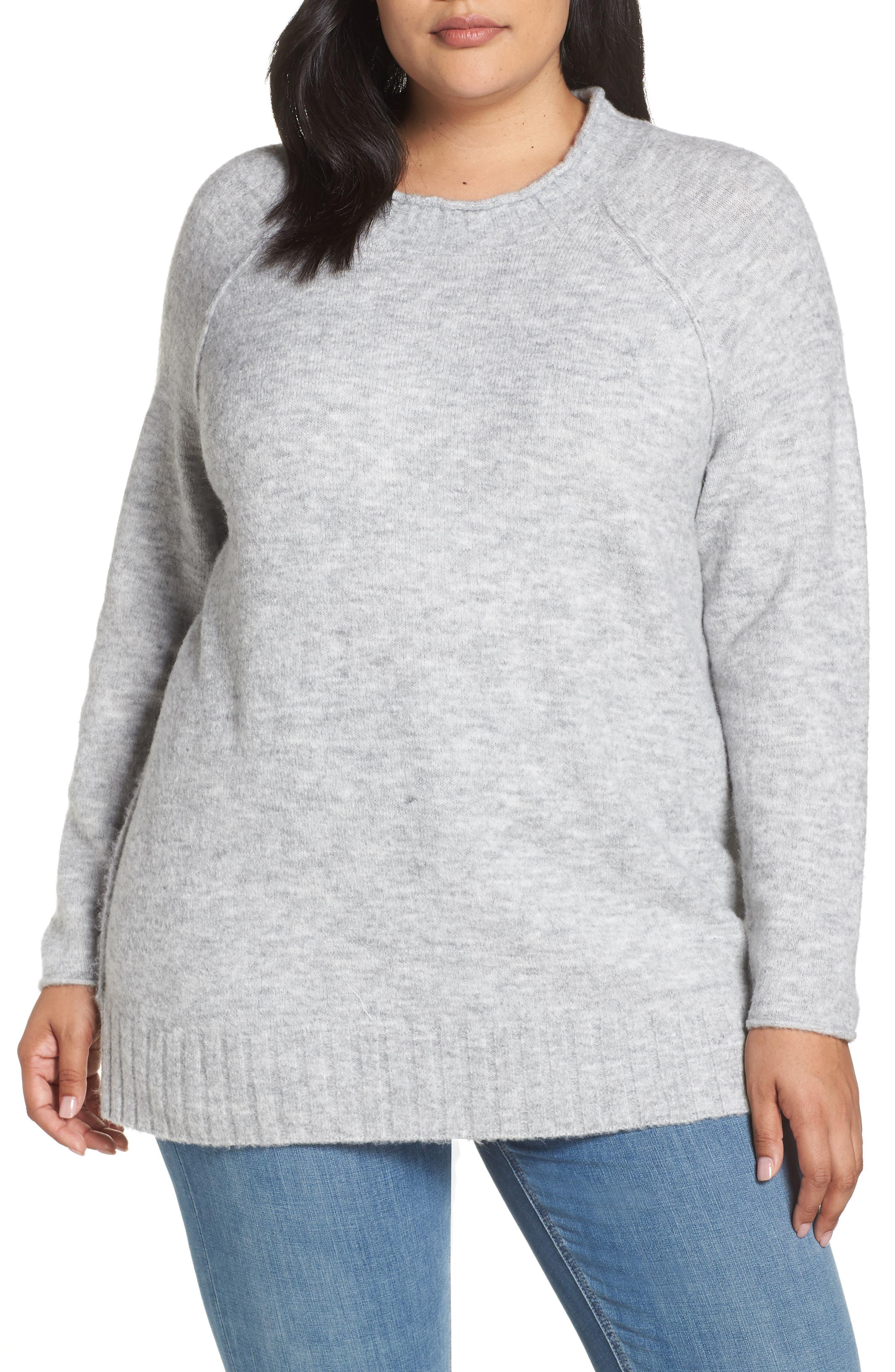 Cozy Crewneck Sweater,                             Main thumbnail 1, color,                             GREY HEATHER
