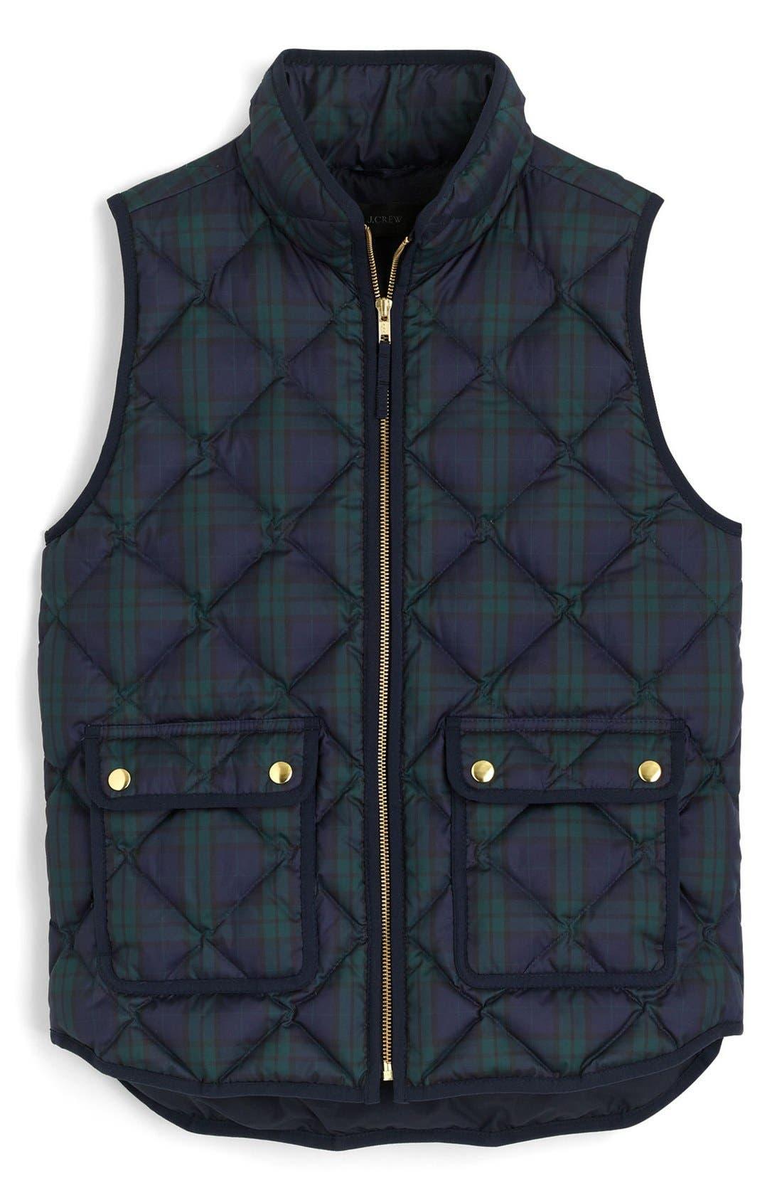J.CREW,                             Black Watch Excursion Quilted Vest,                             Alternate thumbnail 3, color,                             301