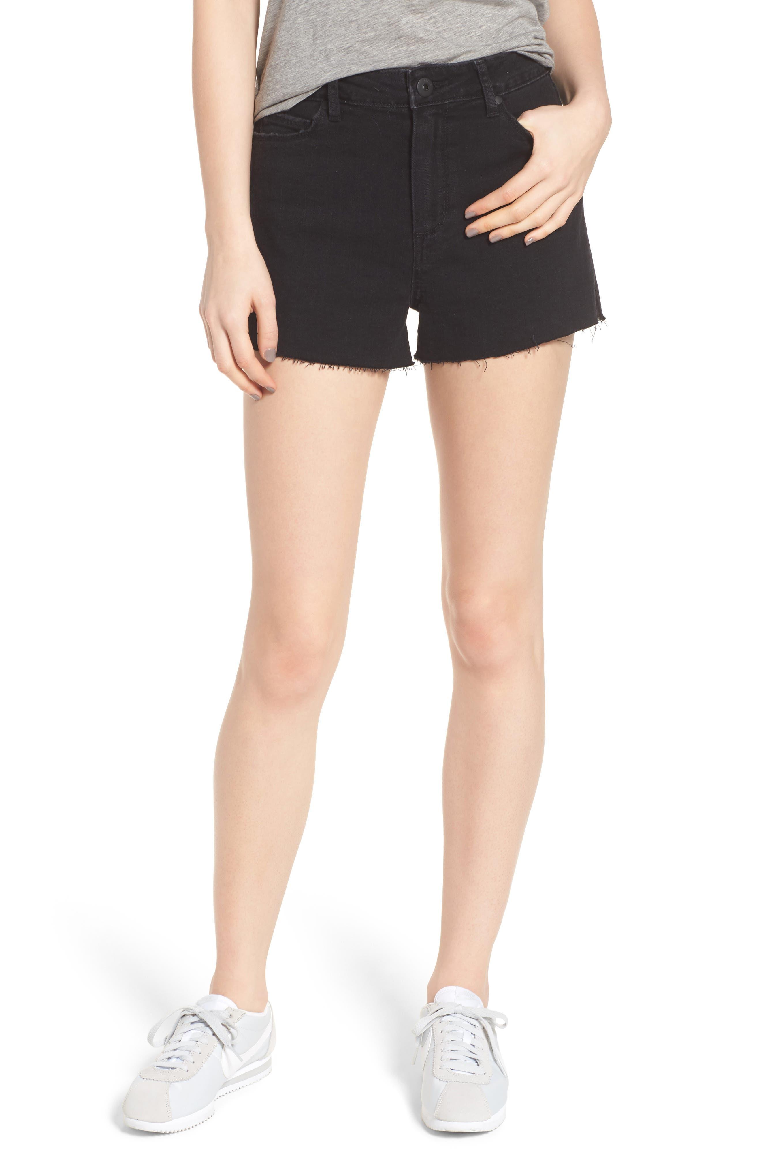 'Margot' High Rise Cutoff Denim Shorts,                             Main thumbnail 1, color,                             001