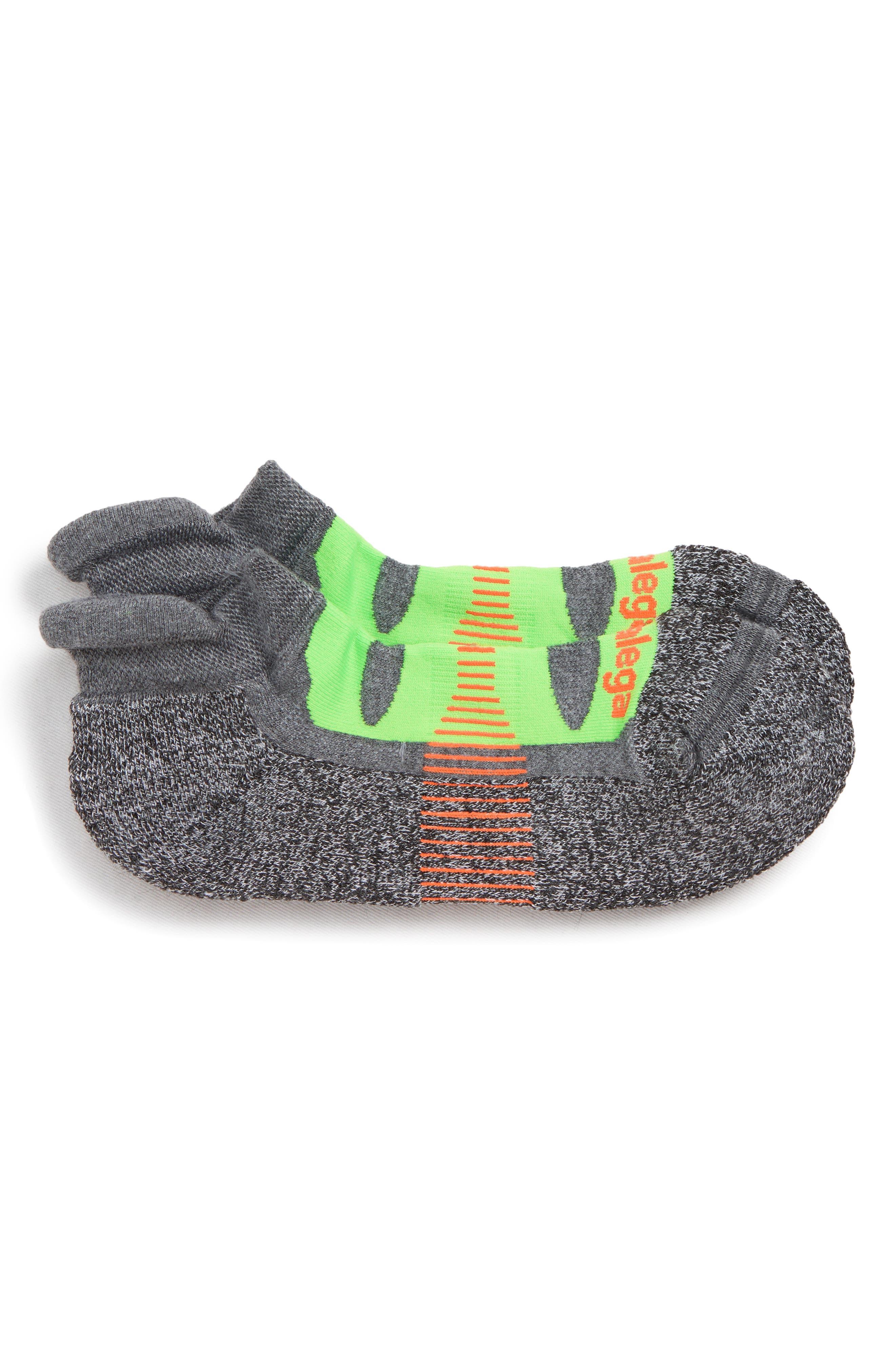 Blister Resist No-Show Running Socks,                             Main thumbnail 1, color,                             CHARCOAL/ GREEN