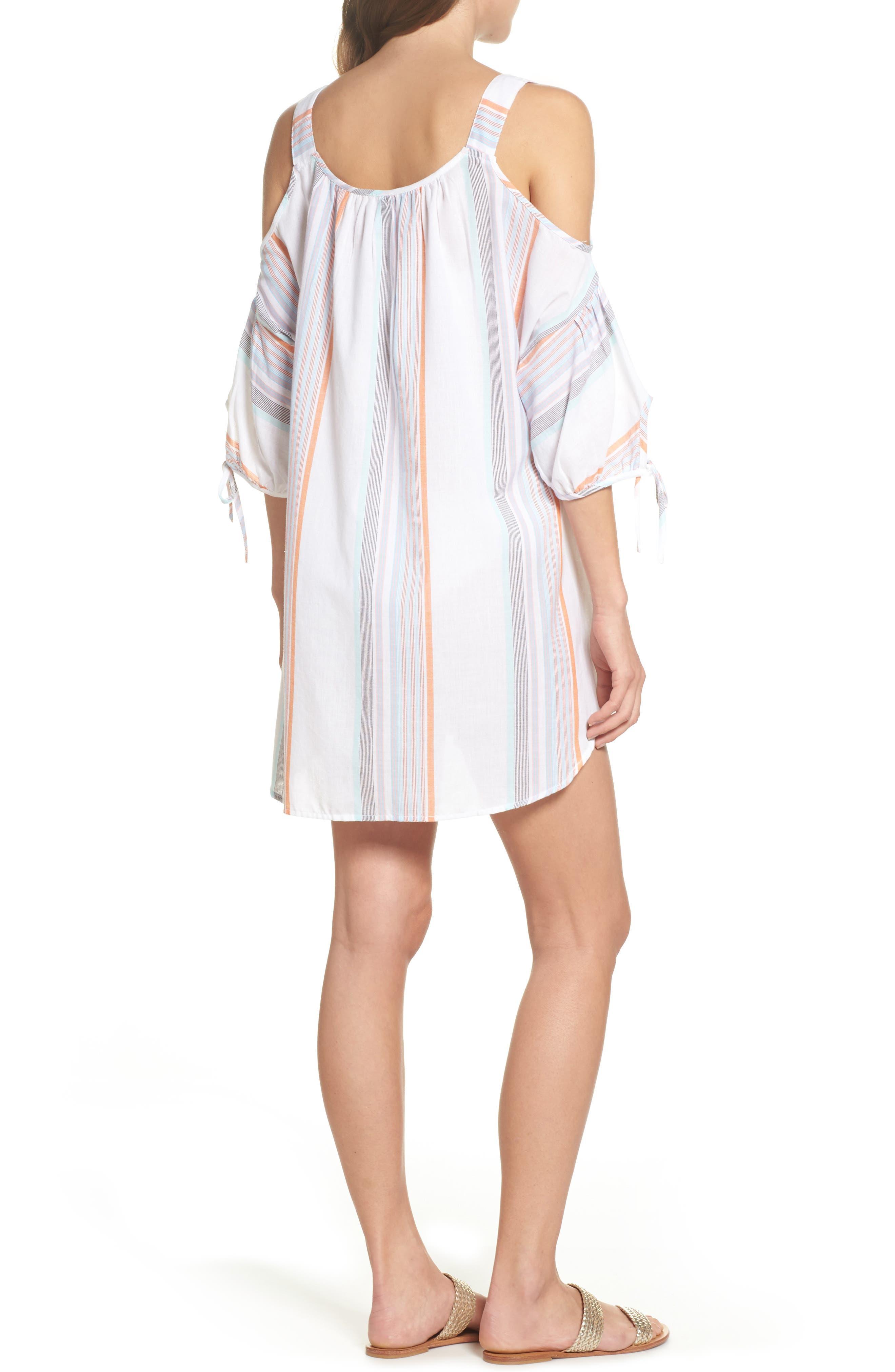 Sunset Stripe Cold Shoulder Cover-Up Dress,                             Alternate thumbnail 2, color,                             100
