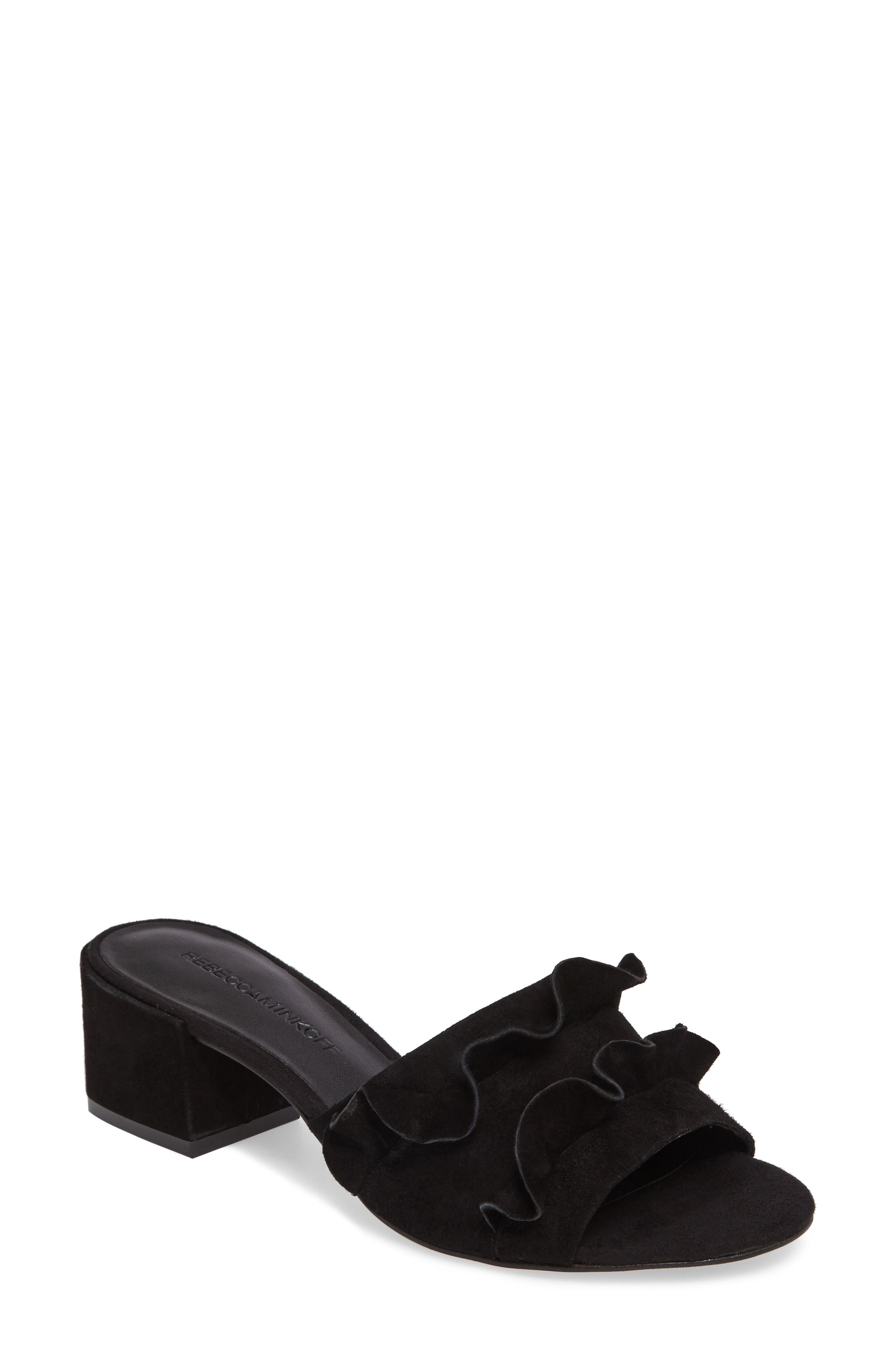 Isabelle Ruffle Mule Sandal,                         Main,                         color, 004