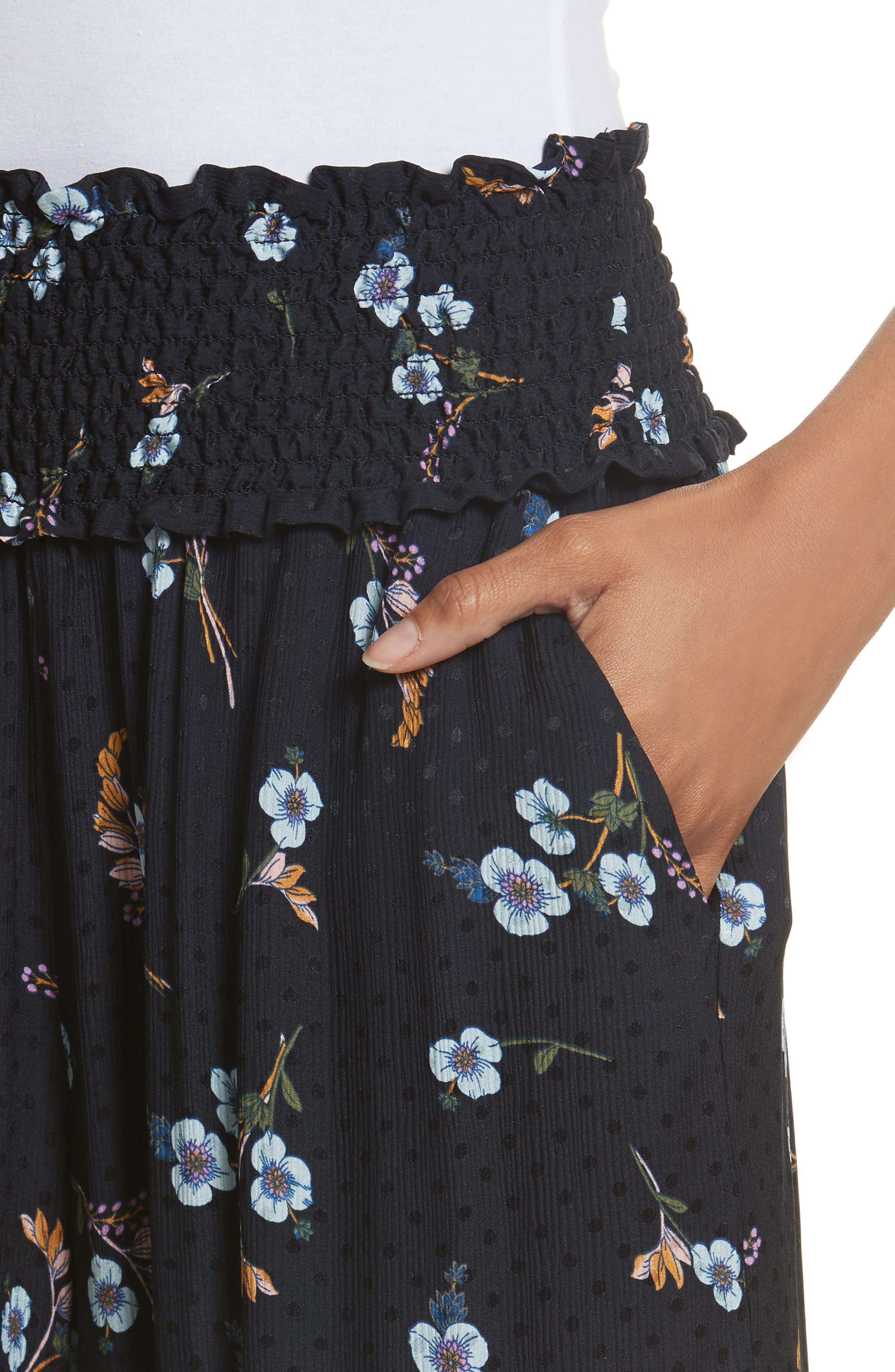 Natalie Fleur Wide Leg Crop Silk Pants,                             Alternate thumbnail 4, color,                             497