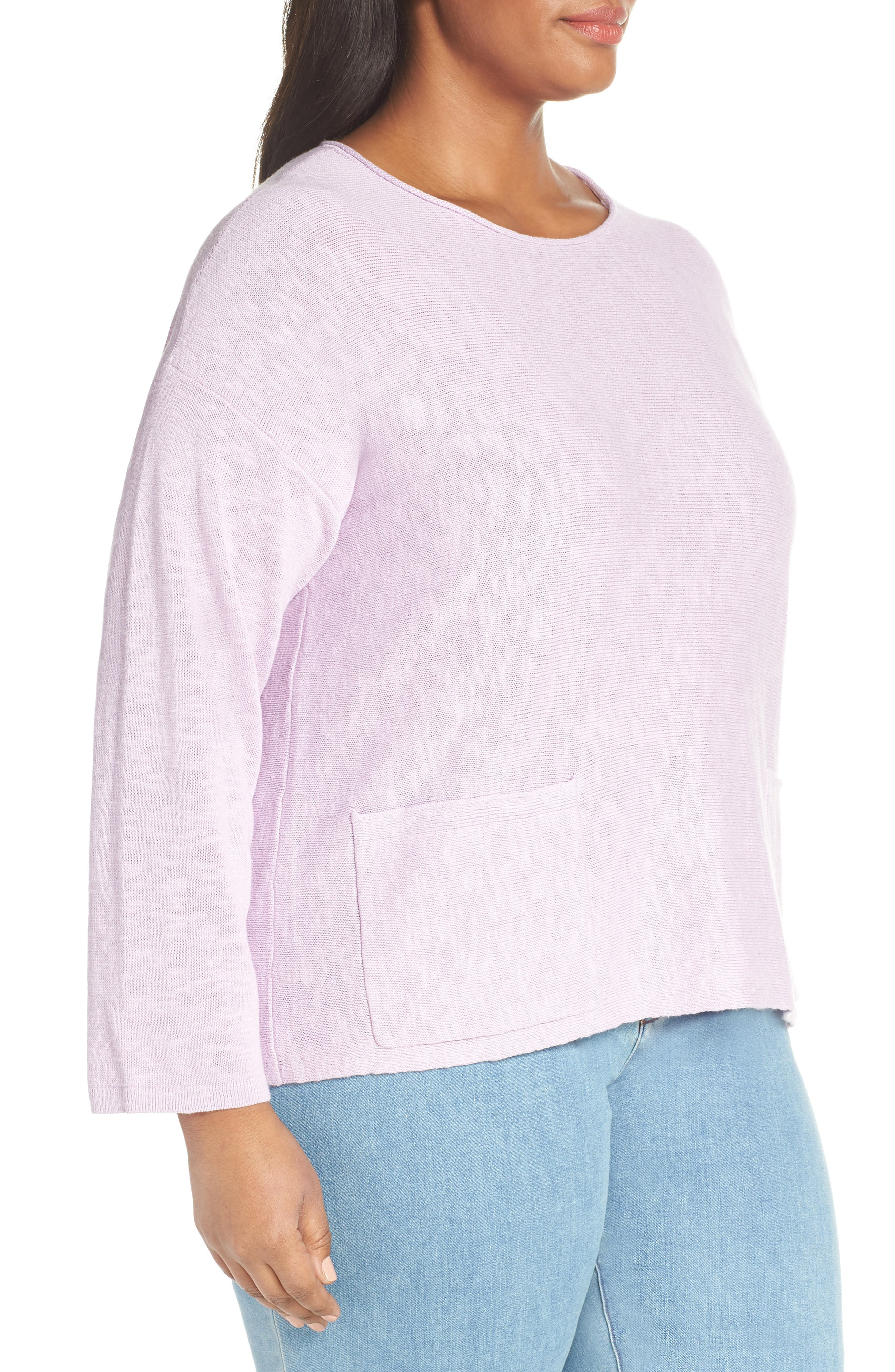 Round Neck Sweater,                             Alternate thumbnail 3, color,                             MALLOW