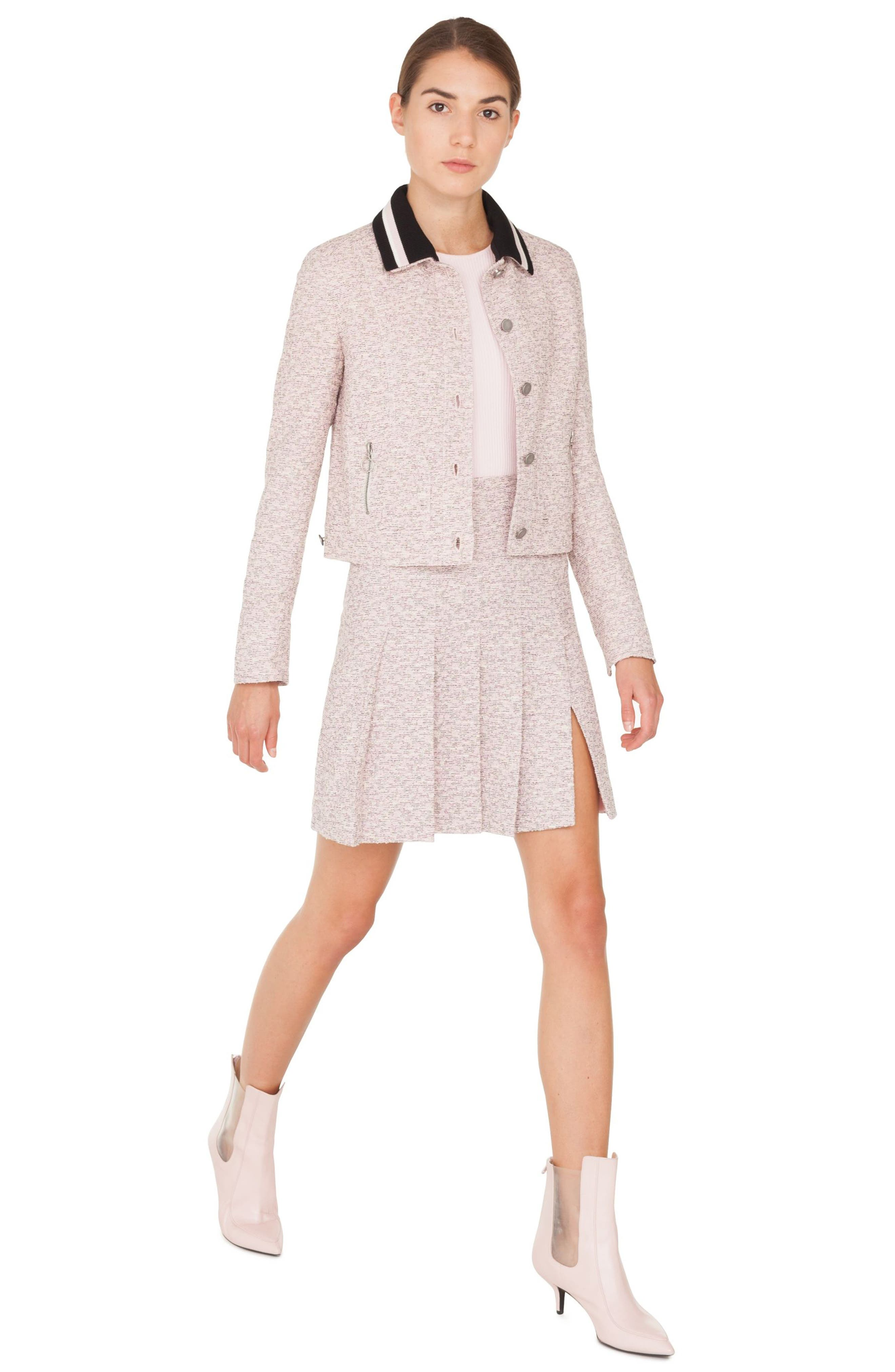 Button Front Tweed Jacket with Detachable Knit Collar,                             Alternate thumbnail 3, color,                             ROSE - CREAM -