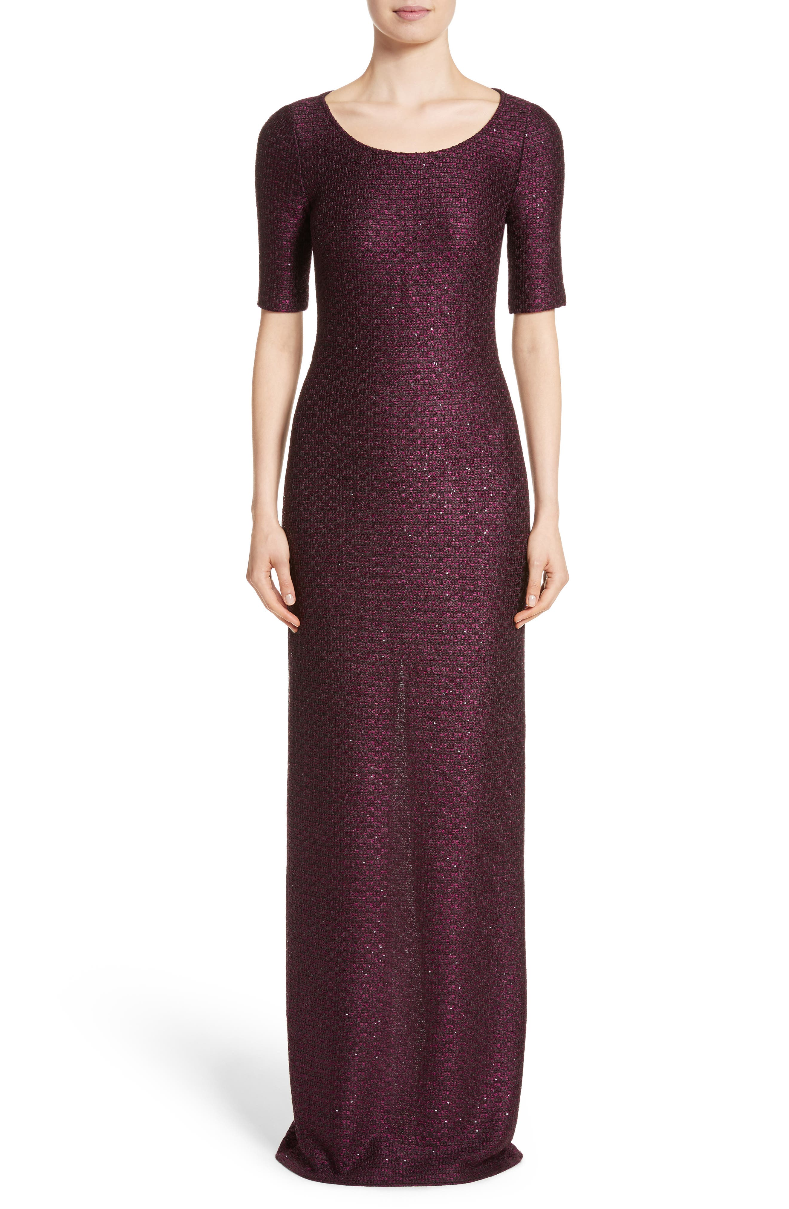 Scooped Neck Hansh Knit Column Gown,                             Main thumbnail 1, color,