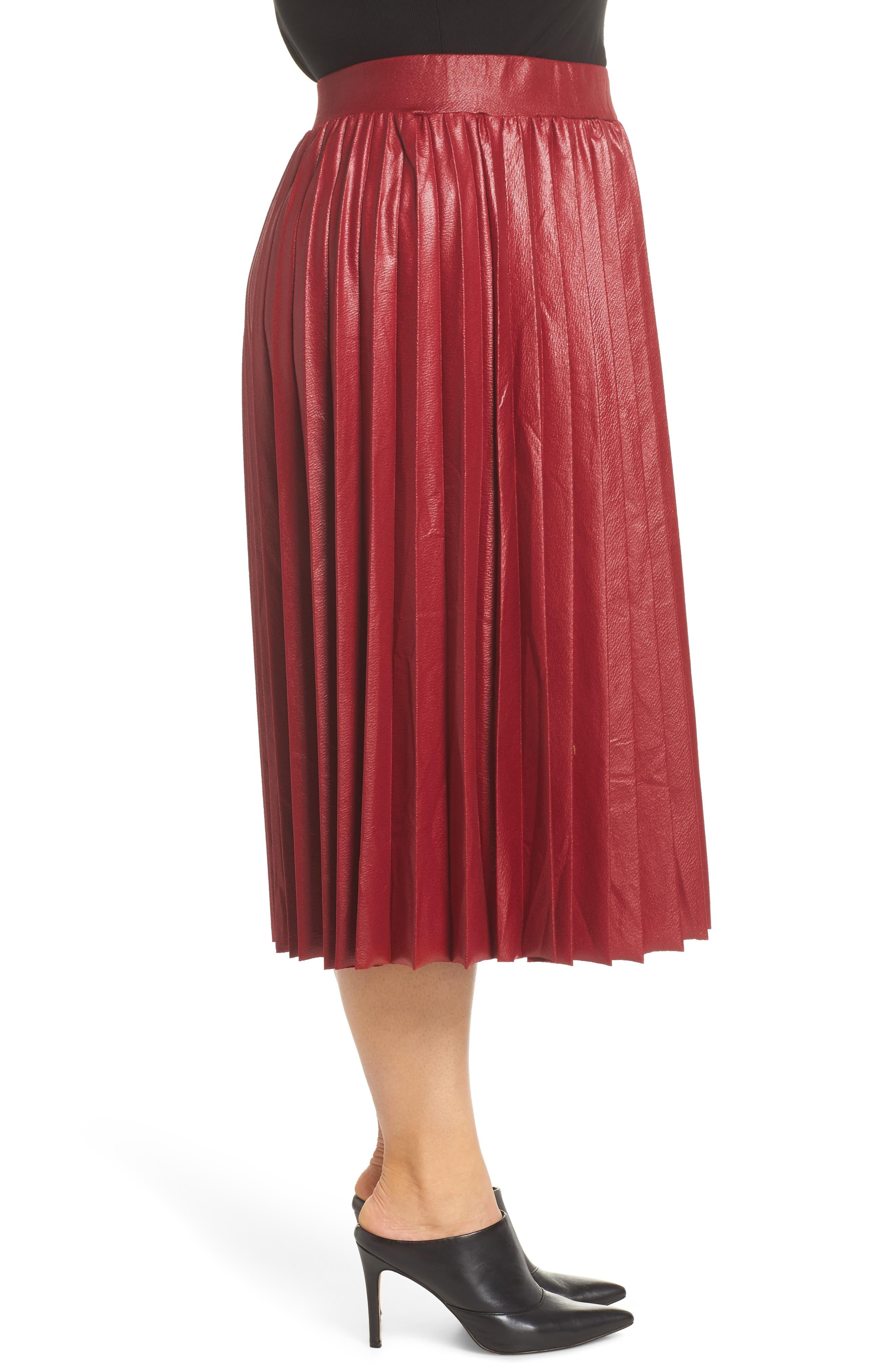 Coated Pleated Midi Skirt,                             Alternate thumbnail 3, color,                             OXBLOOD