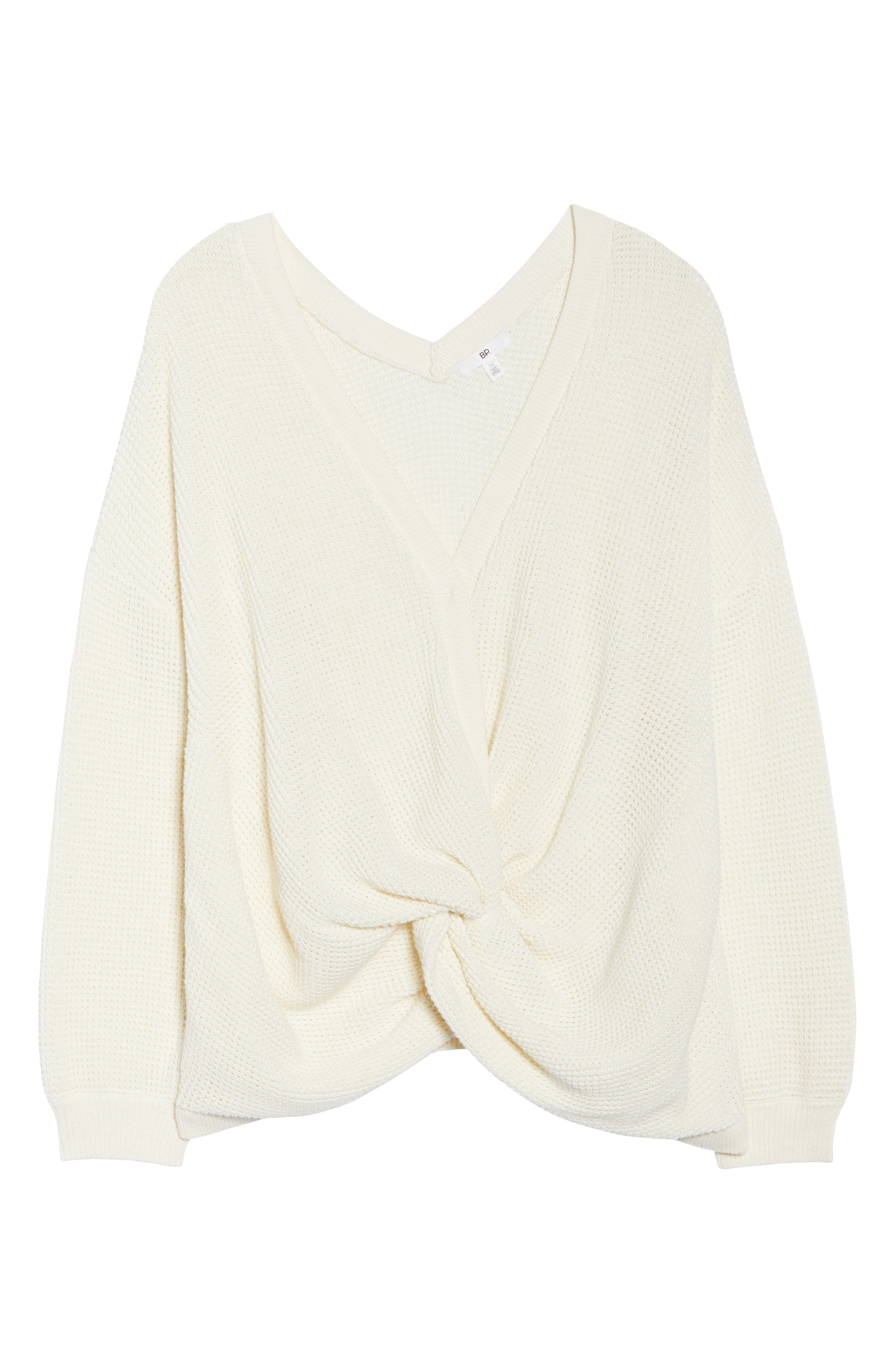 Twist Front Sweater,                             Alternate thumbnail 11, color,                             IVORY