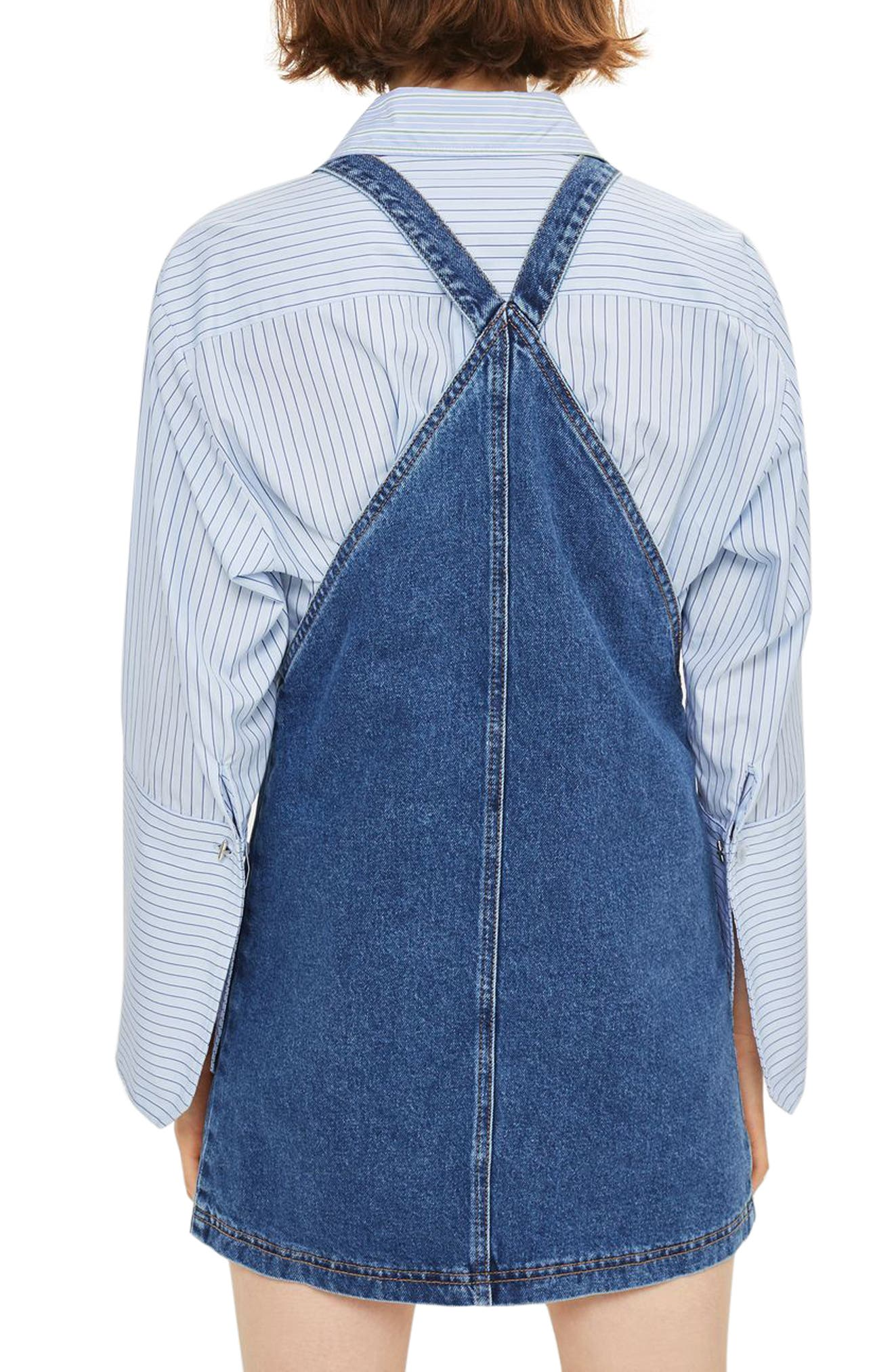 Denim Pinafore Dress,                             Alternate thumbnail 4, color,