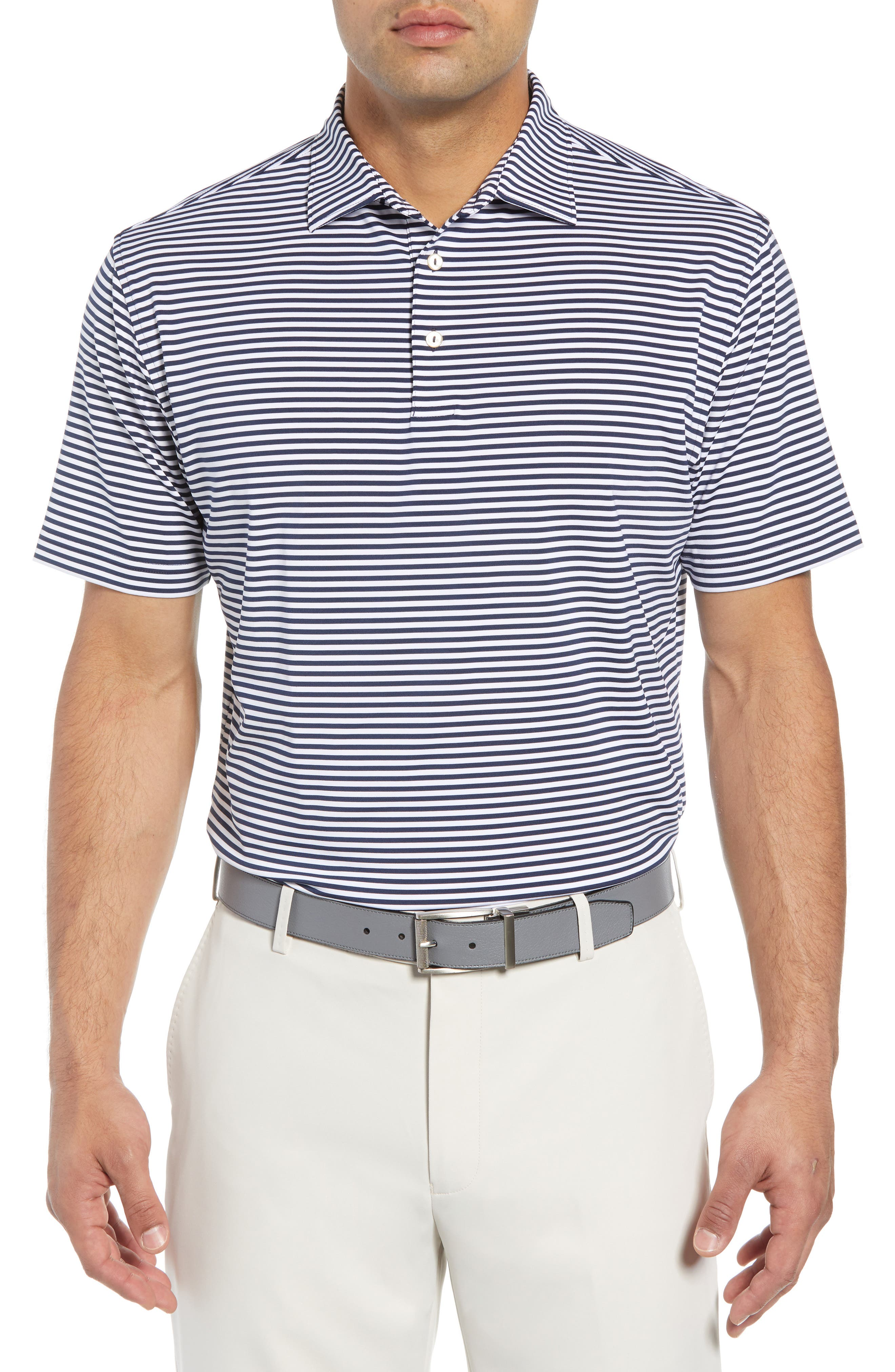 Stripe Stretch Jersey Performance Polo,                             Main thumbnail 1, color,                             NAVY BLUE