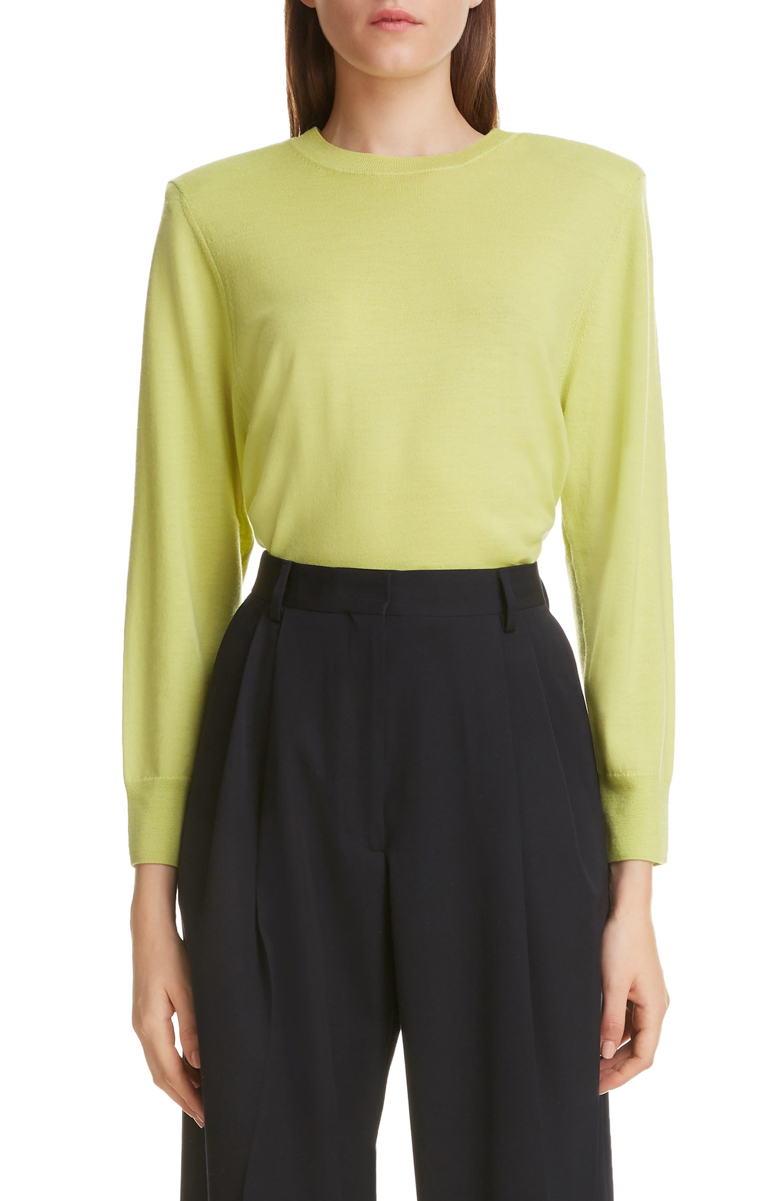 Dries Van Noten Naeva Merino Wool Sweater, Yellow