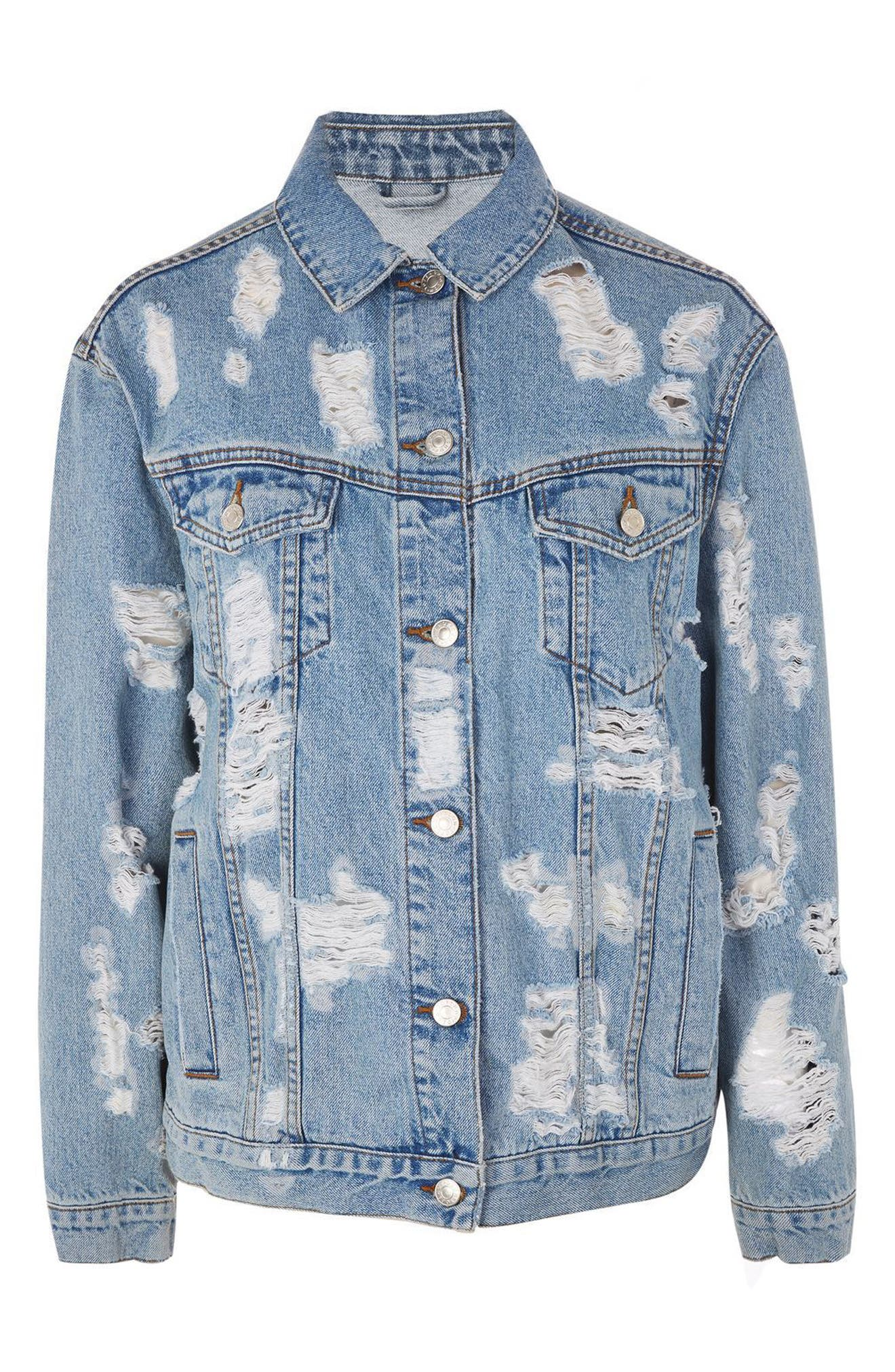 Ripped Denim Jacket,                             Alternate thumbnail 4, color,                             400