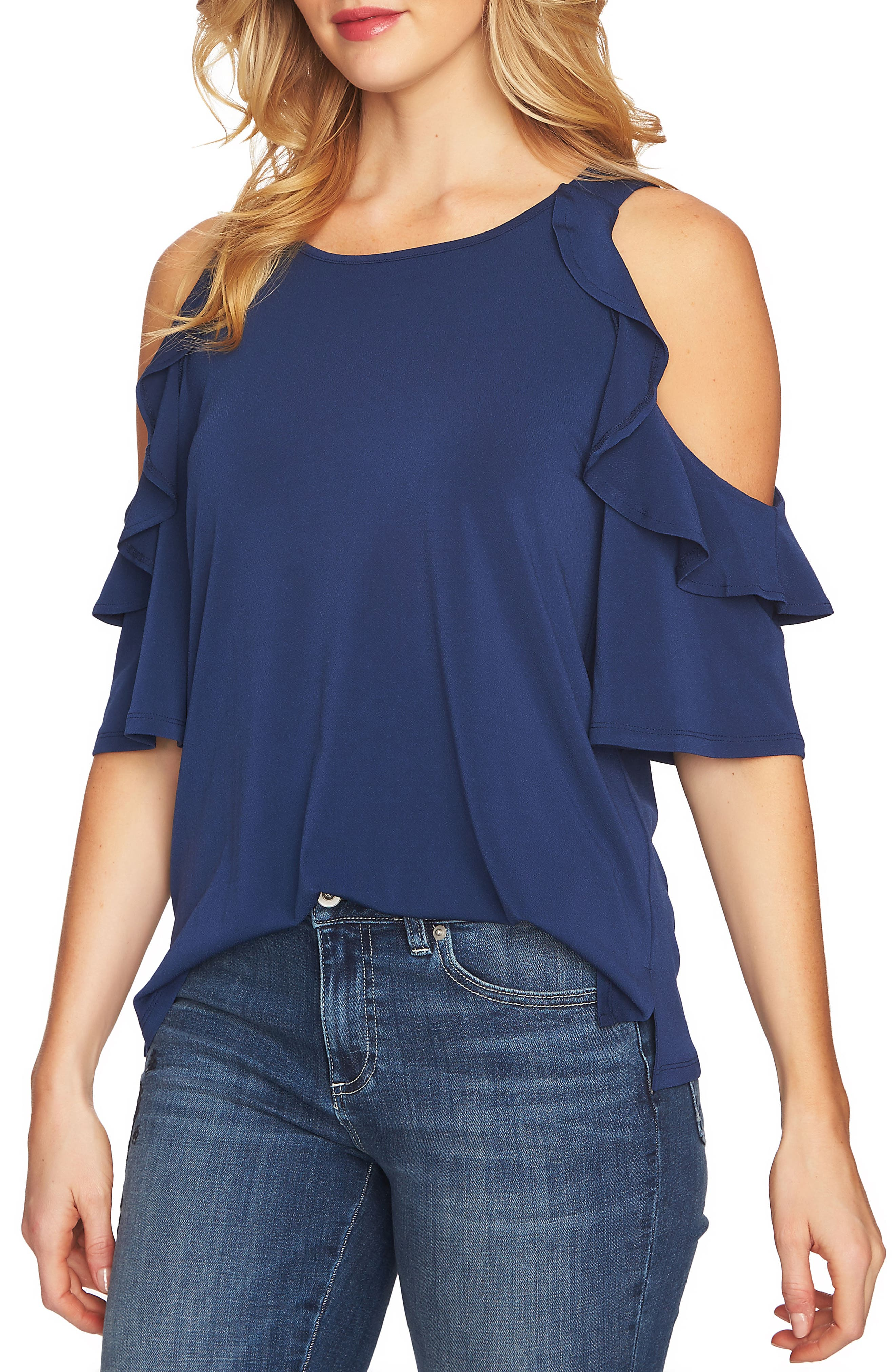 Cold Shoulder Ruffle Knit Top,                         Main,                         color, 429