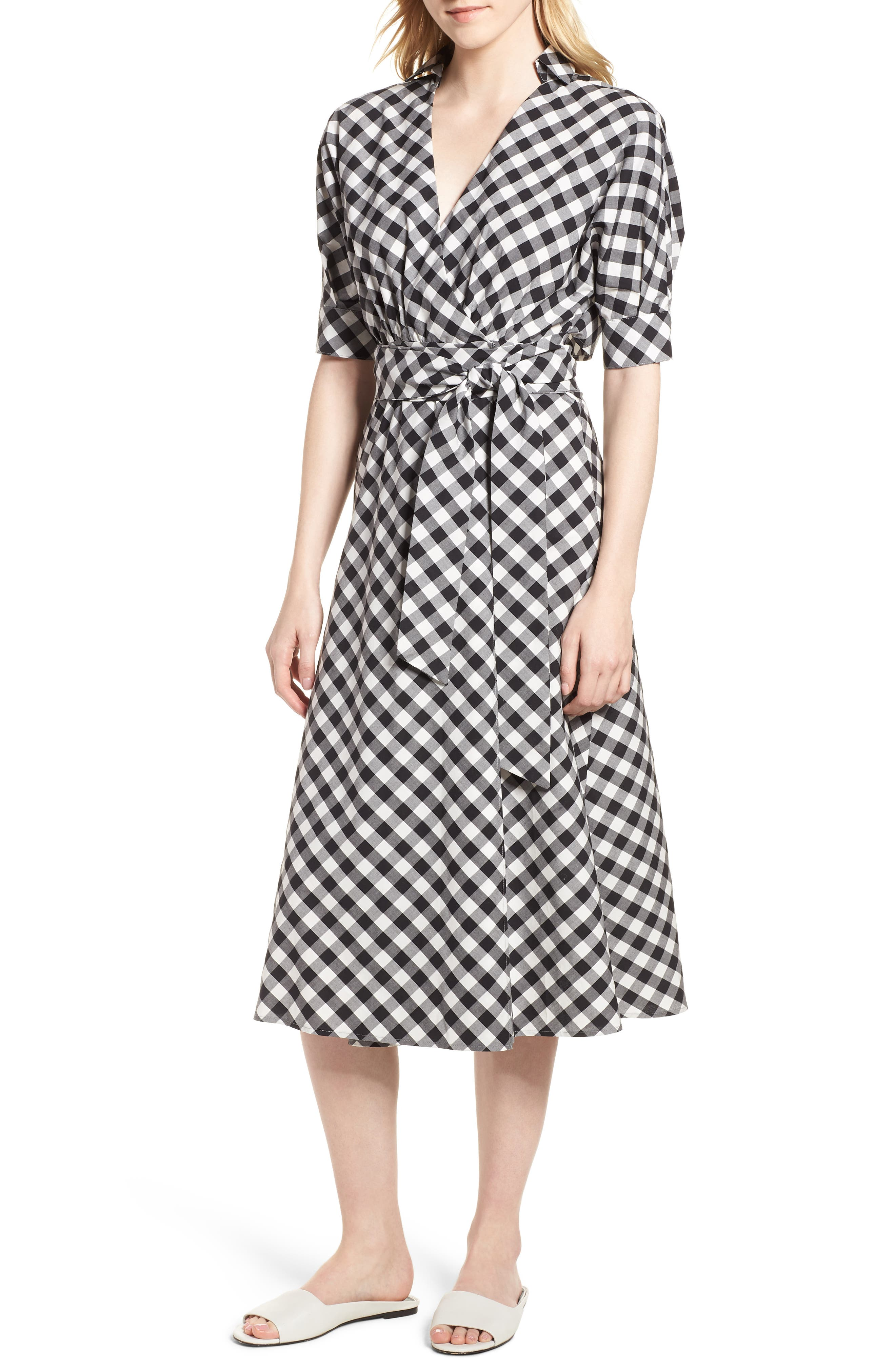 Gingham Wrap Midi Dress,                             Main thumbnail 1, color,                             003
