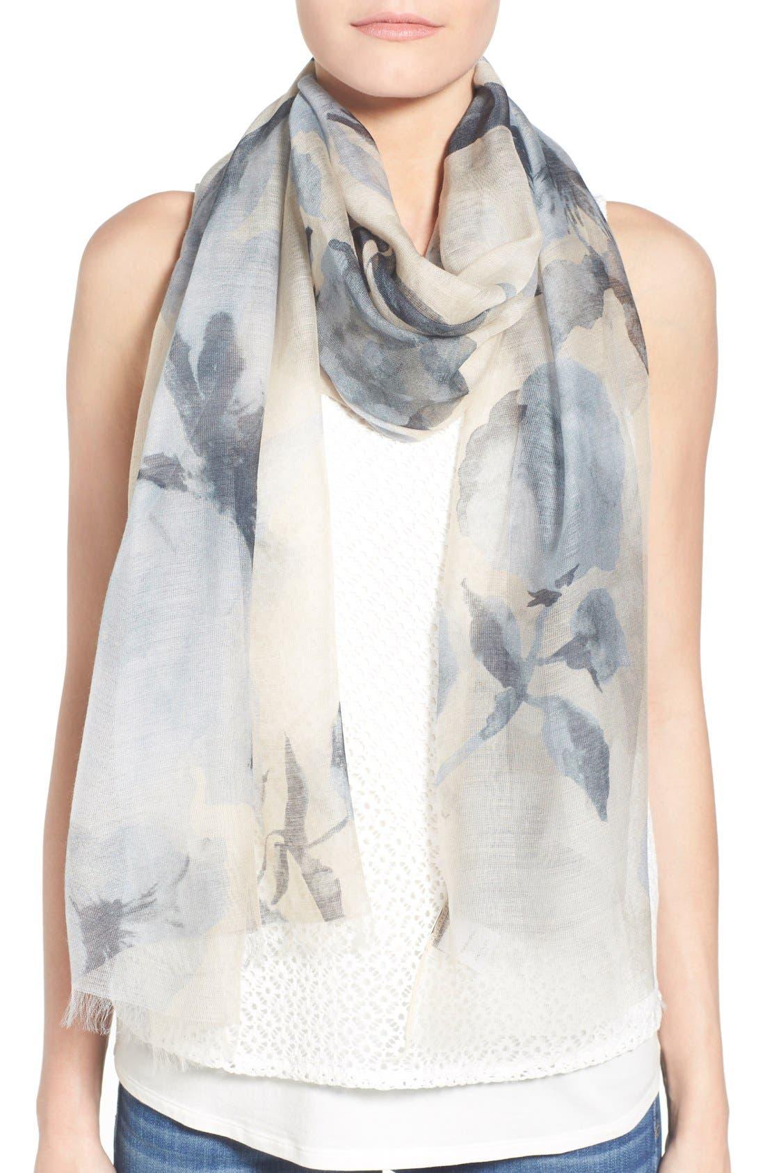 Floral Print Modal & Silk Scarf,                         Main,                         color, 250