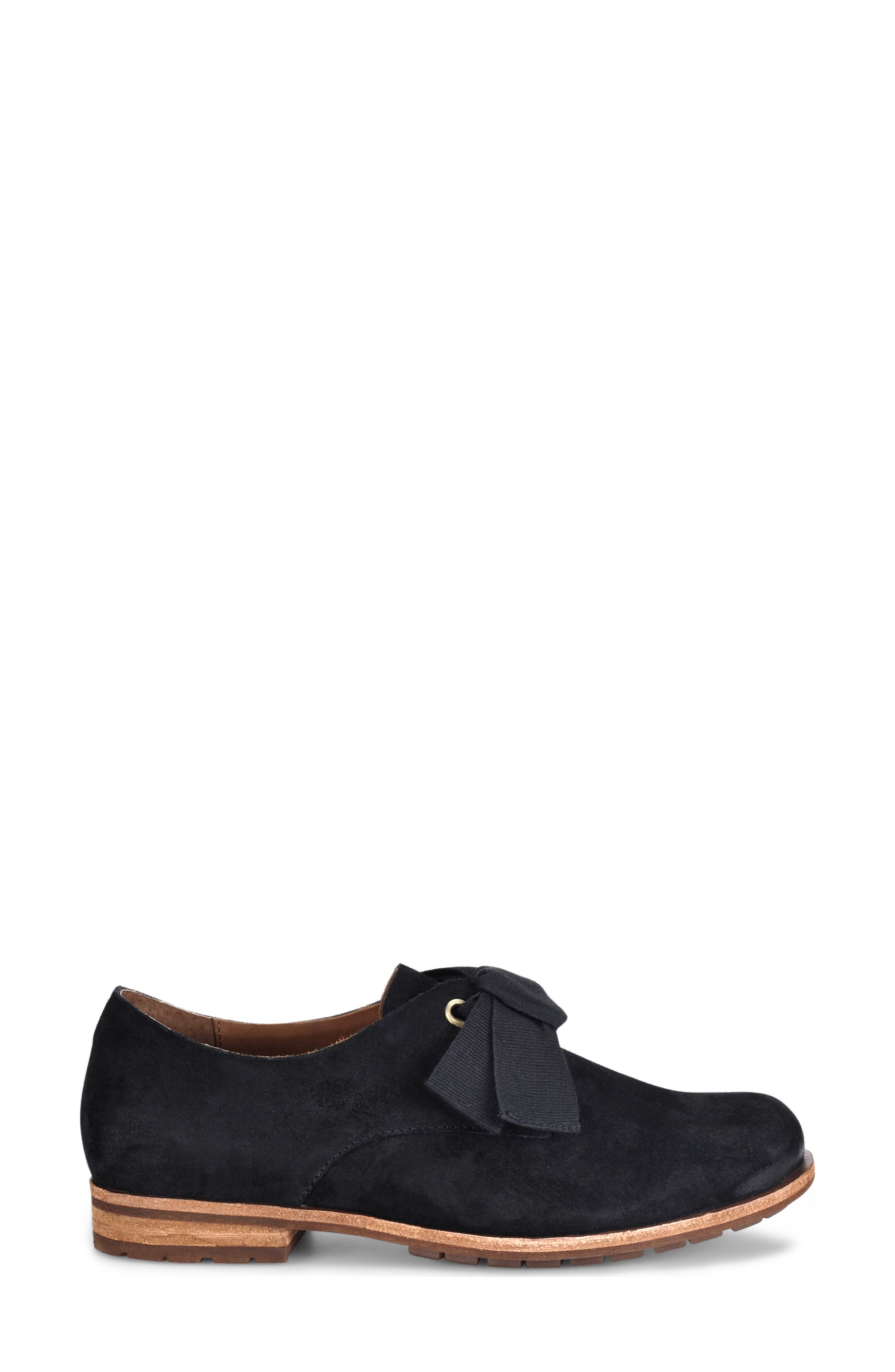 Beryl Bow Flat,                             Alternate thumbnail 3, color,                             BLACK SUEDE