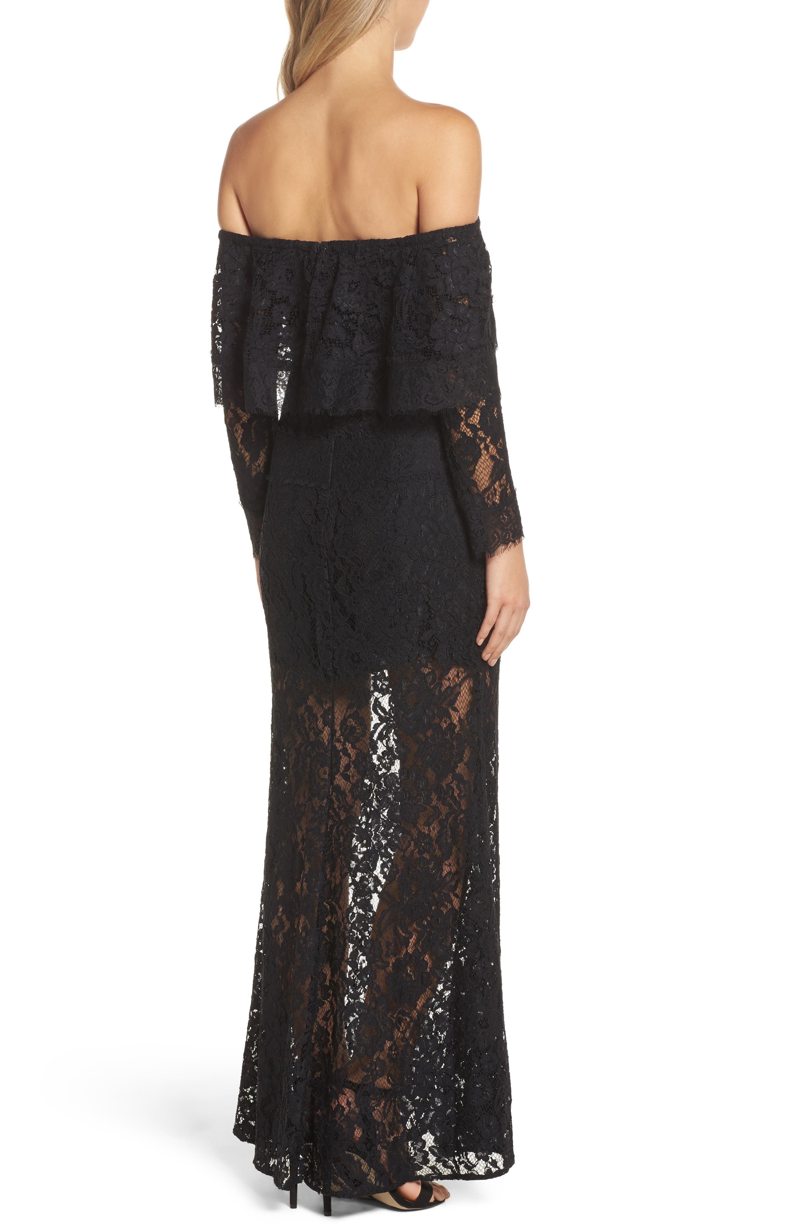 Soiree Lace Off the Shoulder Gown,                             Alternate thumbnail 2, color,                             001