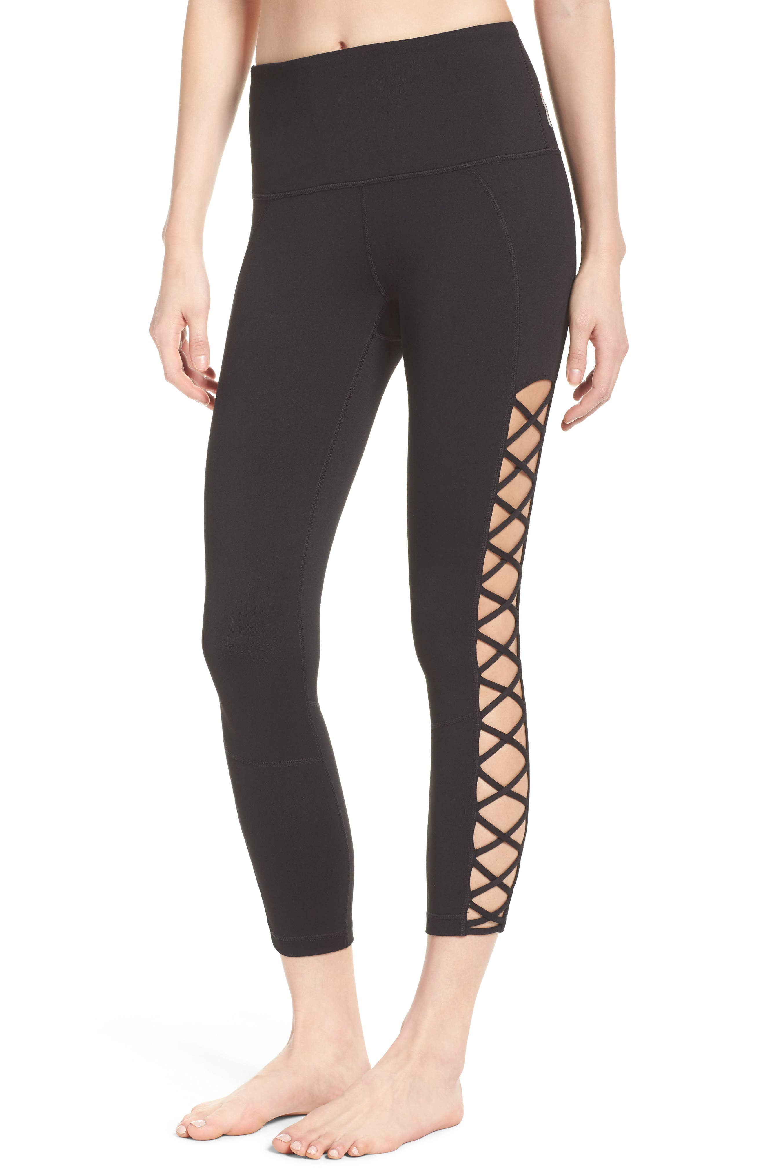 Lace It Up High Waist Midi Leggings,                         Main,                         color, 001
