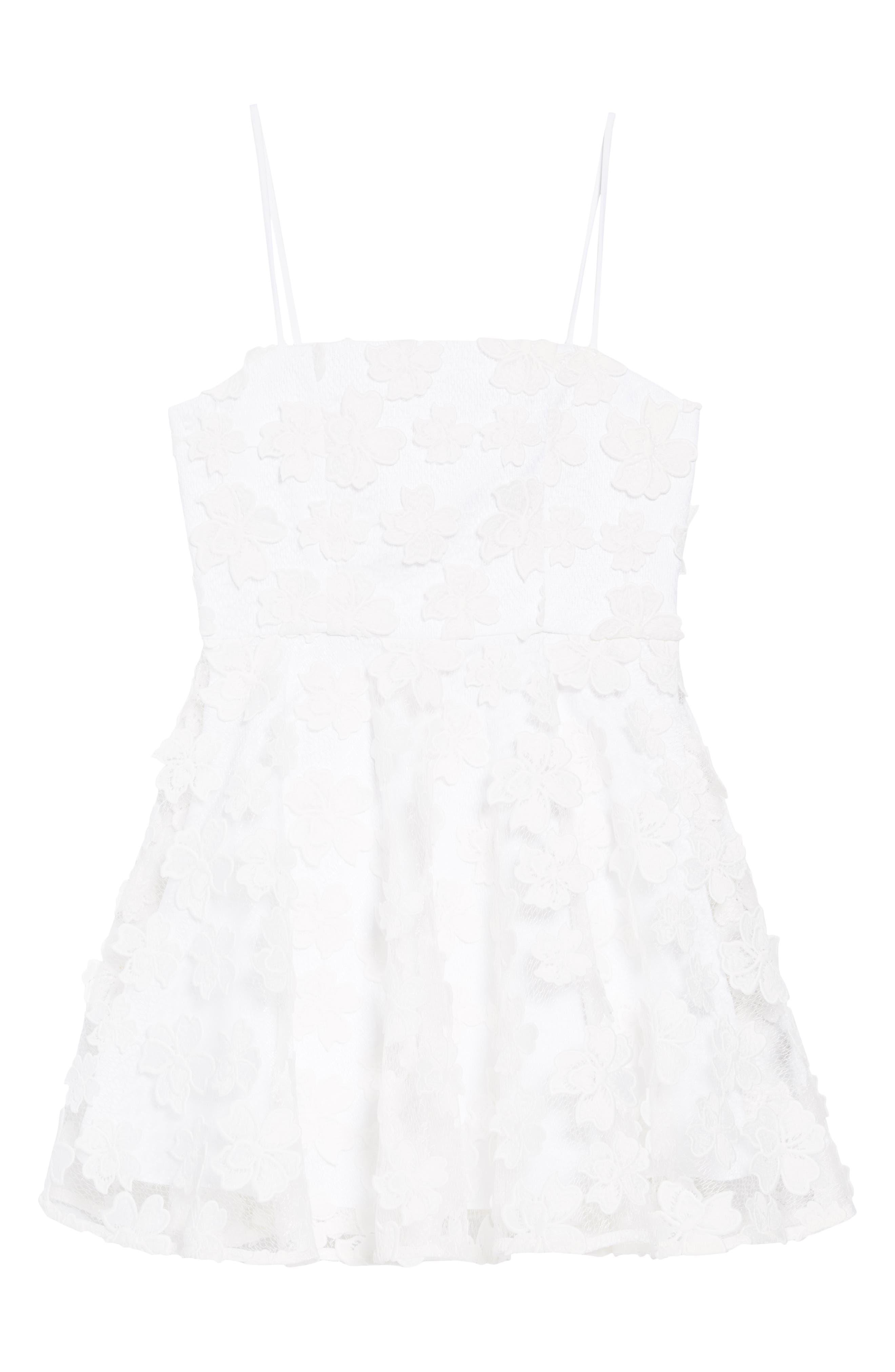 Avery Floral Appliqué Dress, Main, color, WHITE