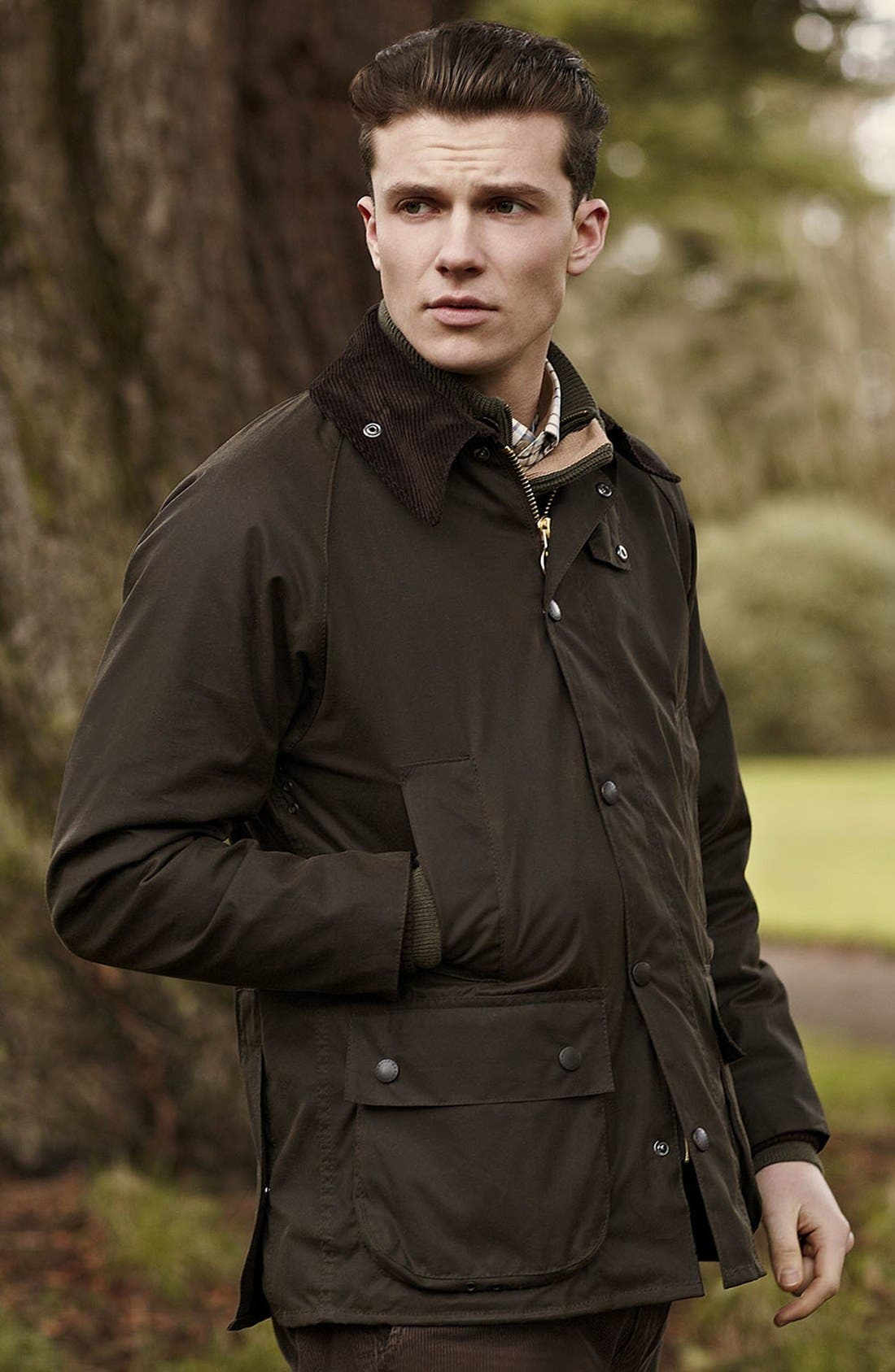 'Bedale' Relaxed Fit Waterproof Waxed Cotton Jacket,                             Alternate thumbnail 5, color,                             301