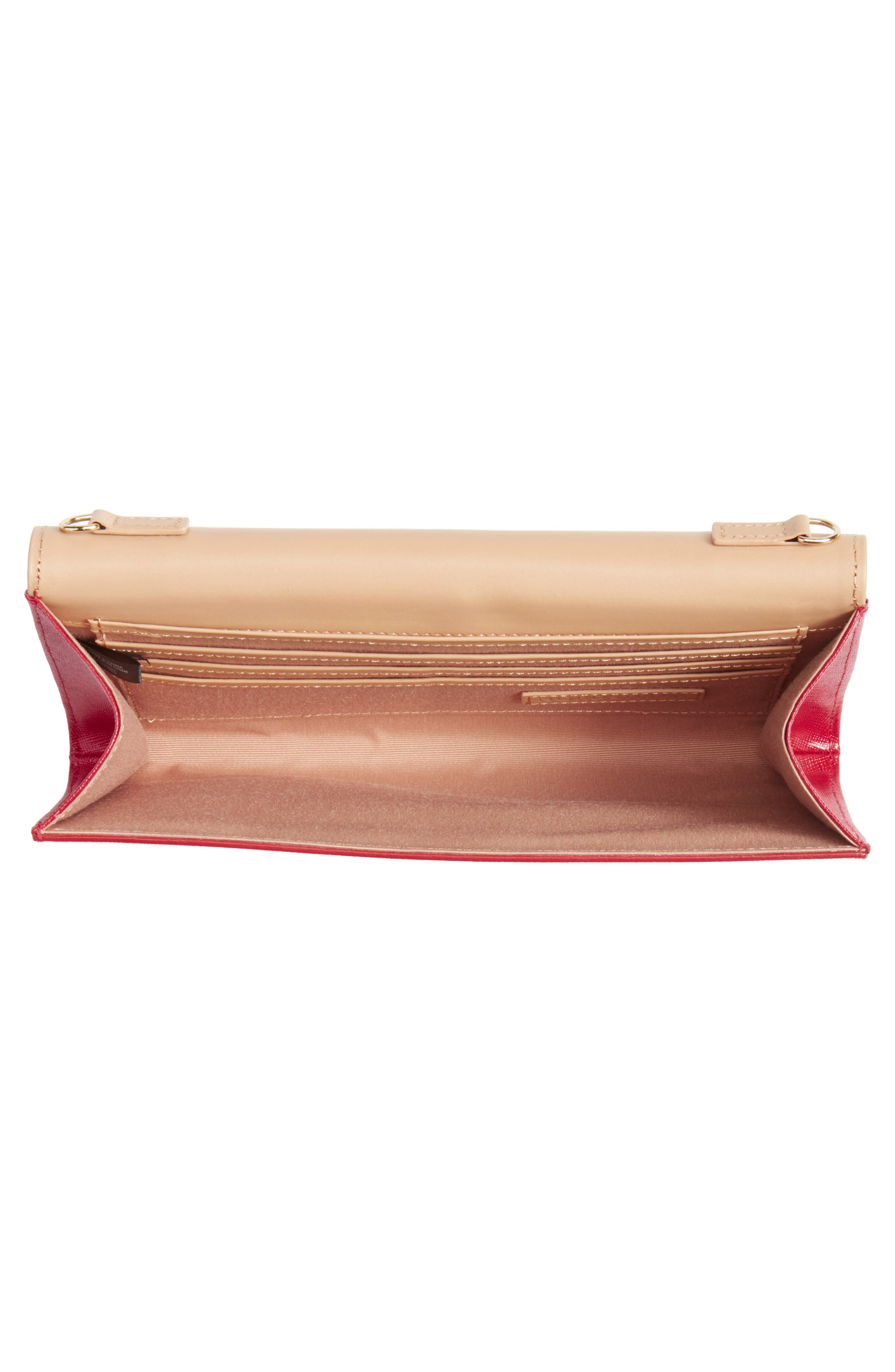 Leather Clutch,                             Alternate thumbnail 4, color,                             RED JESTER
