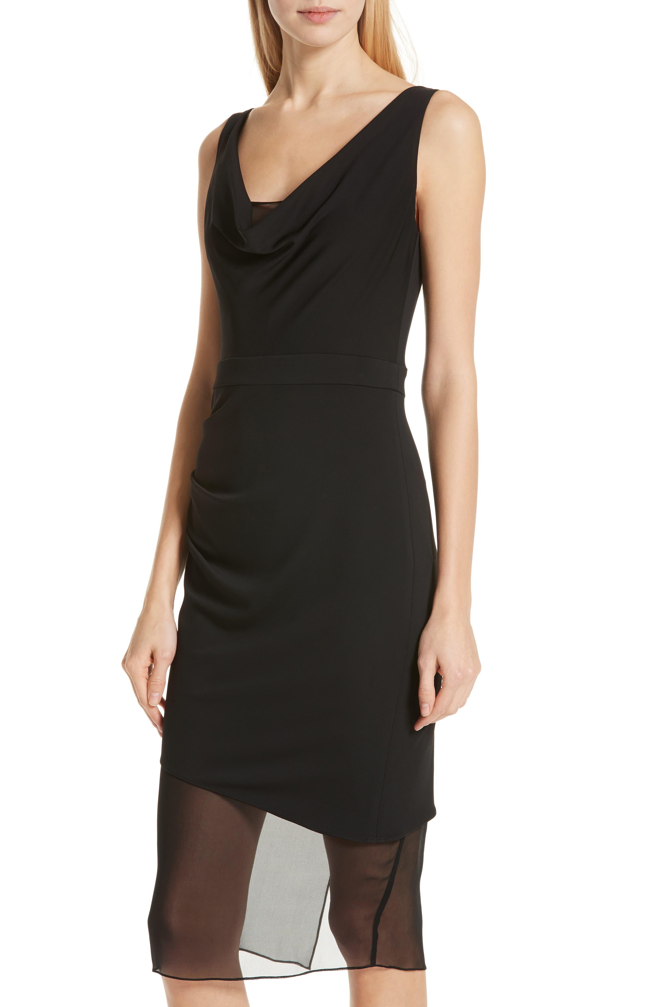 CUSHNIE,                             Cowl Neck Dress,                             Alternate thumbnail 4, color,                             BLACK