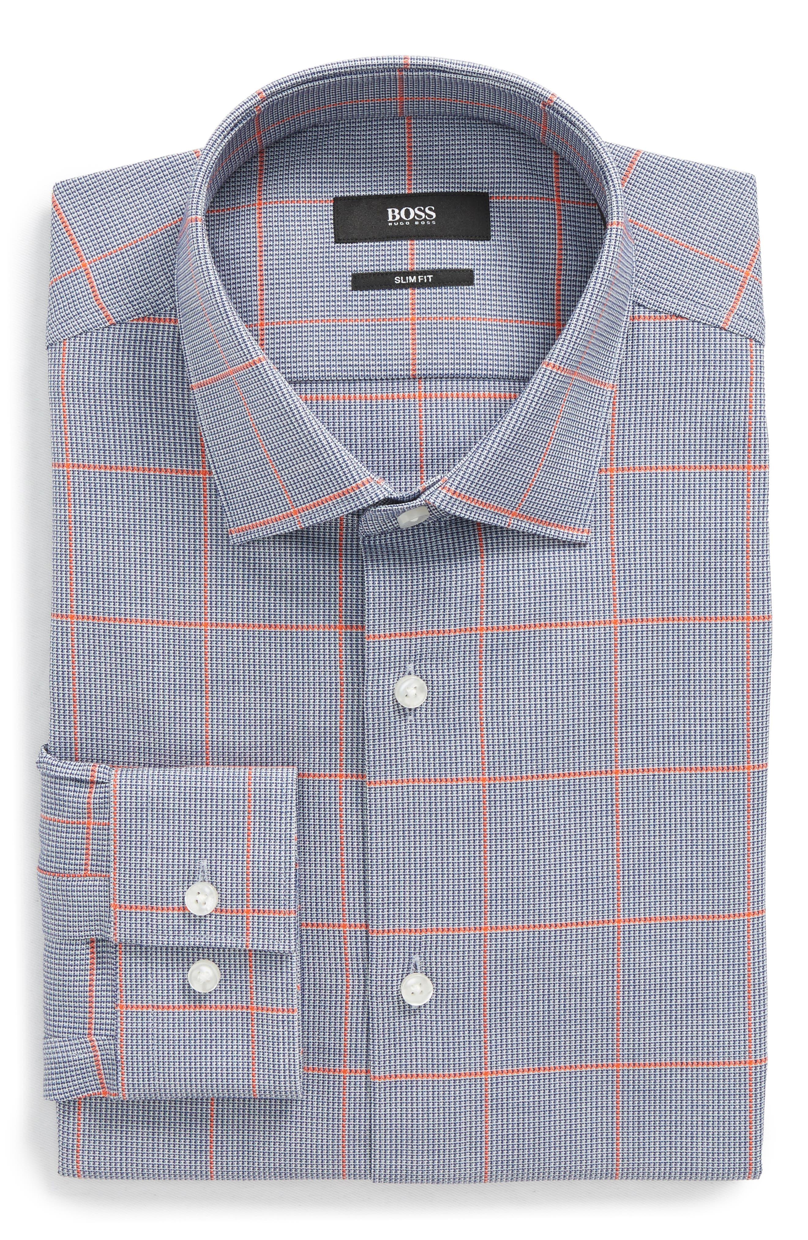 Ismo Slim Fit Windowpane Dress Shirt,                         Main,                         color,