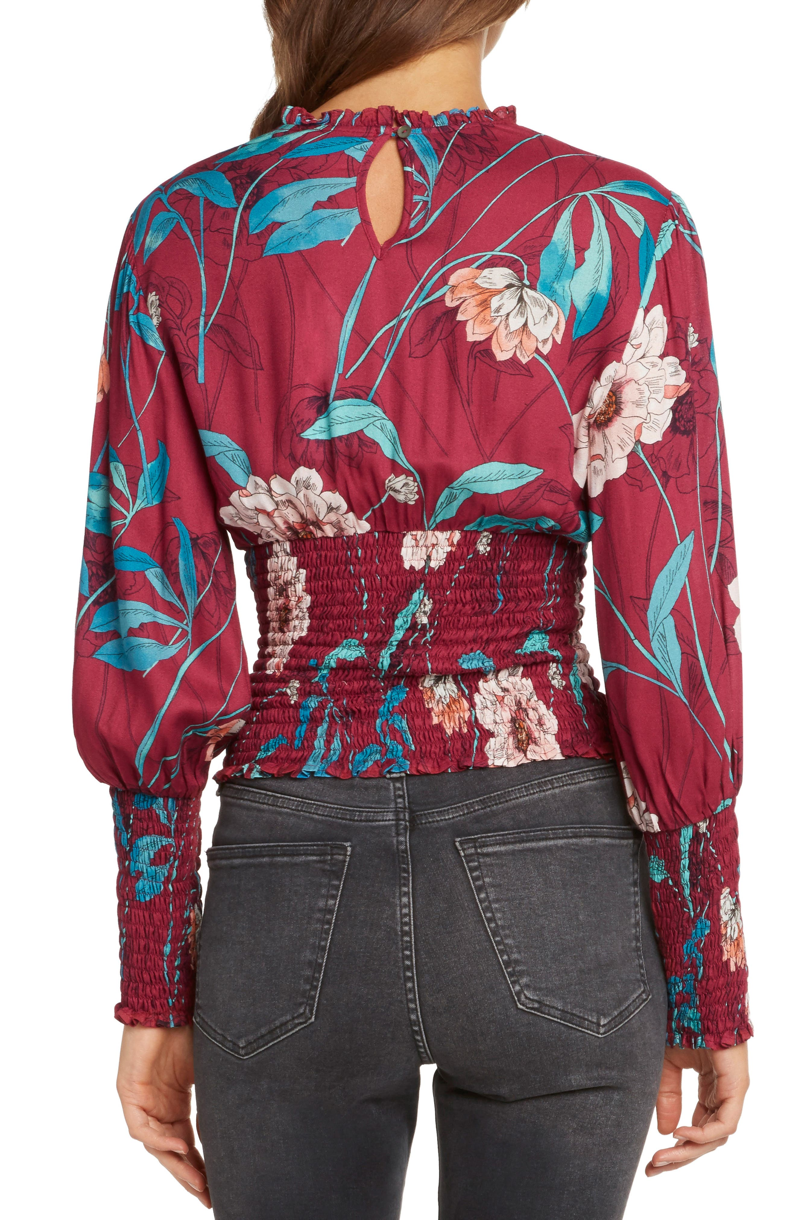 WILLOW & CLAY,                             Print Smocked Waist Blouse,                             Alternate thumbnail 2, color,                             648