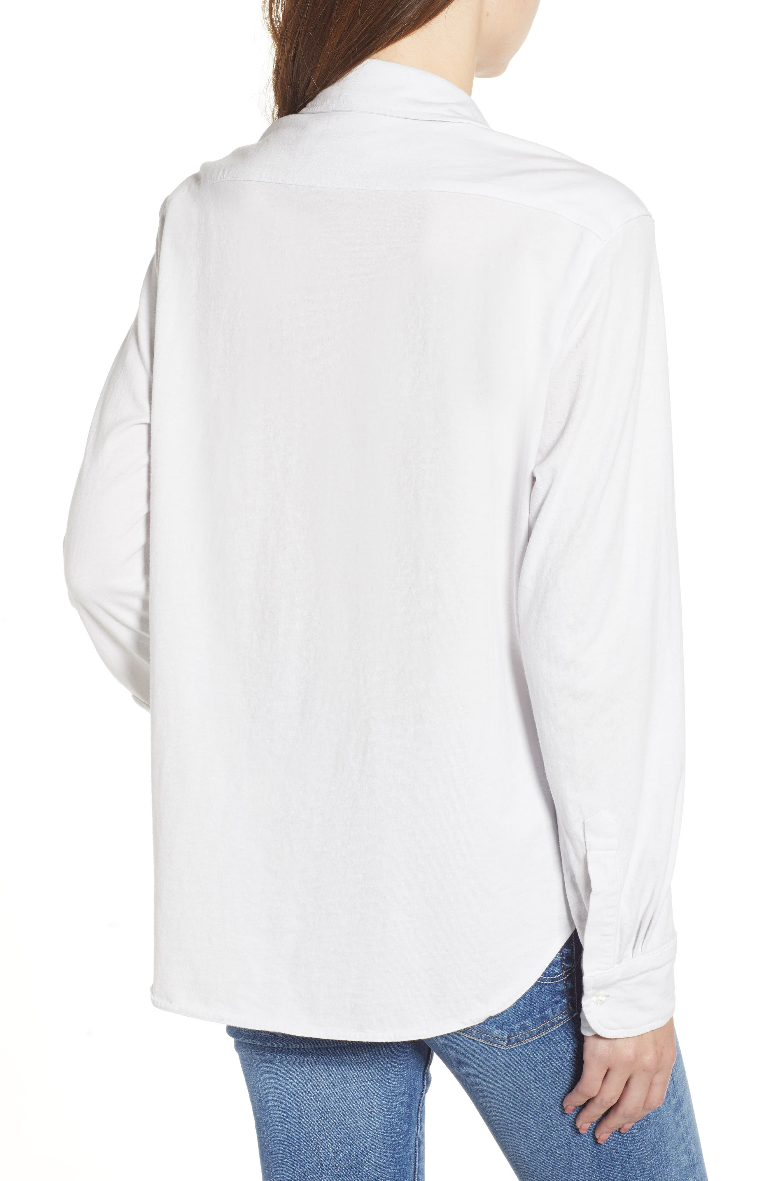 FRANK & EILEEN TEE LAB,                             Eileen Jersey Button Front Shirt,                             Alternate thumbnail 2, color,                             DIRTY WHITE