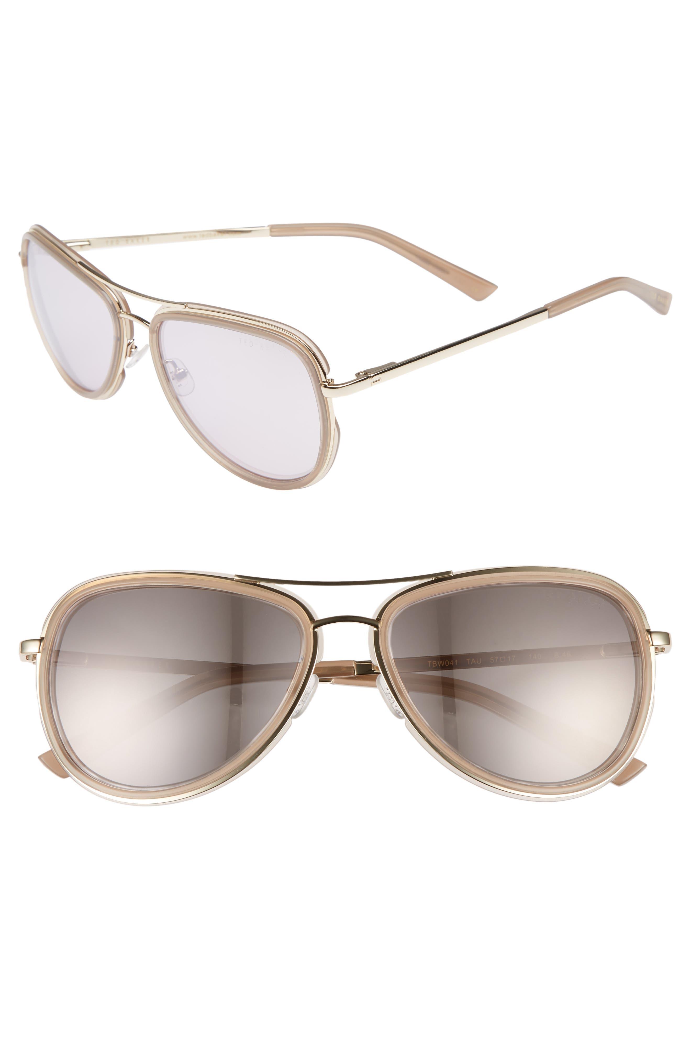 Combination 57mm Aviator Sunglasses,                         Main,                         color, 250