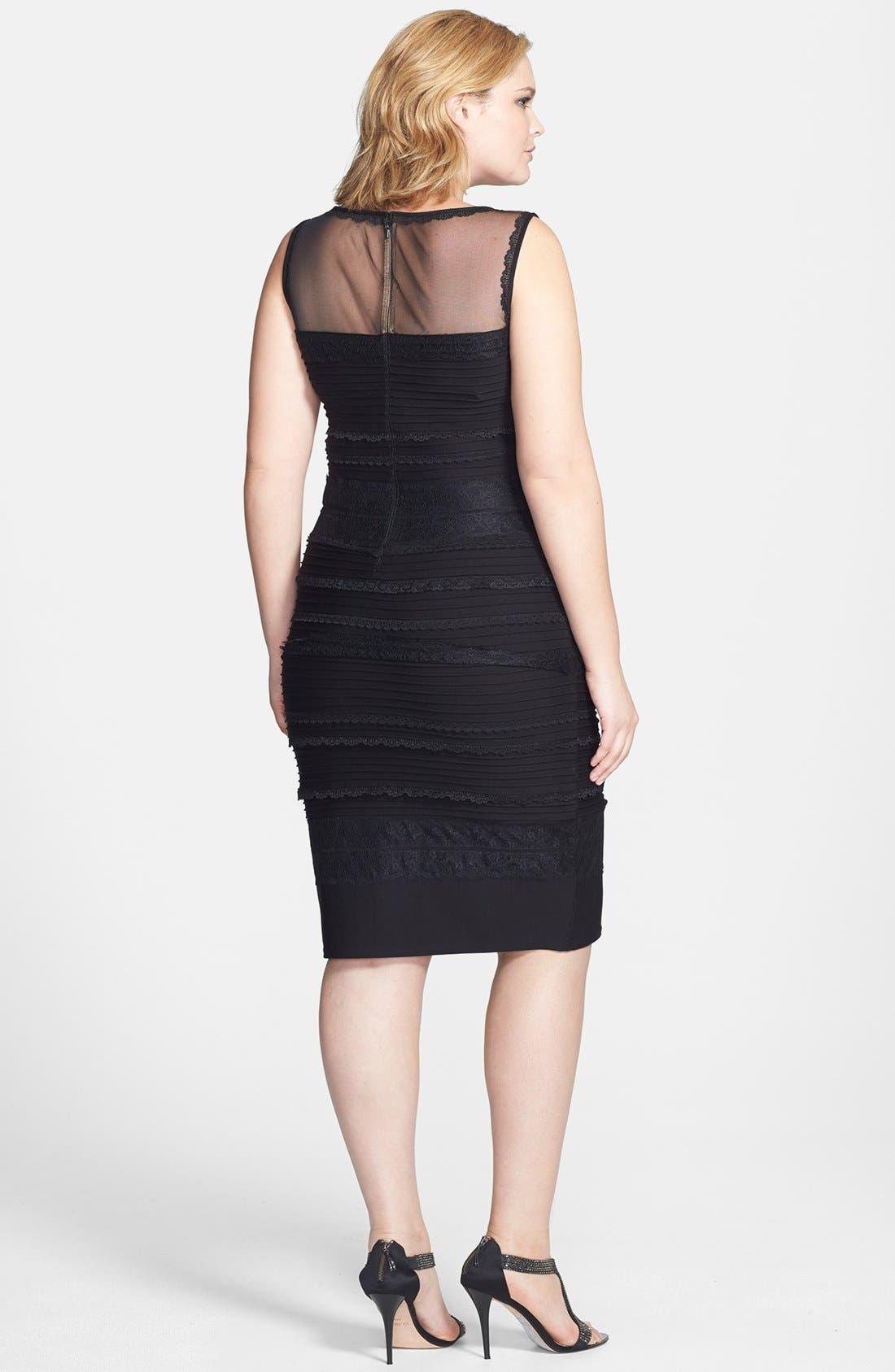 Lace Trim Banded Sheath Dress,                             Alternate thumbnail 3, color,                             001