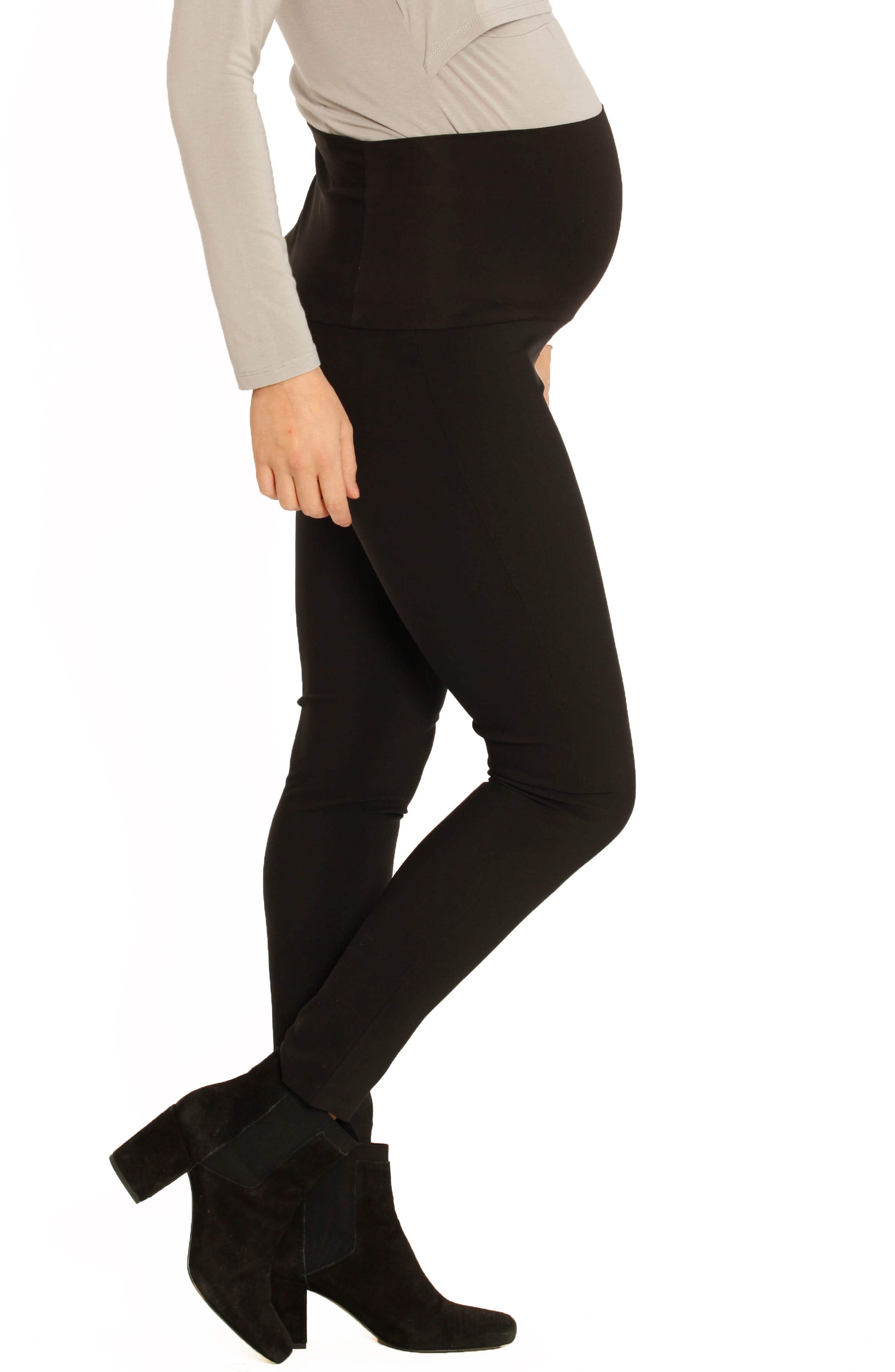 Fitted Straight Leg Maternity Pants,                             Alternate thumbnail 3, color,                             BLACK