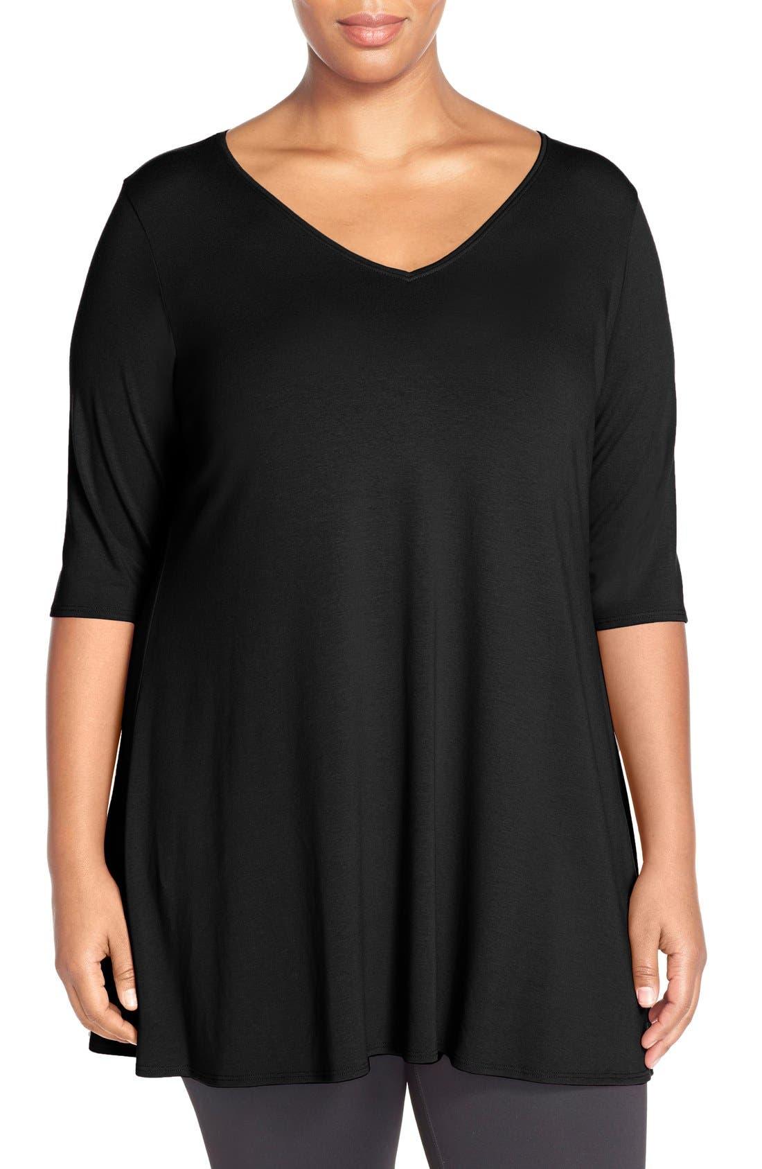 V-Neck Jersey Tunic,                             Main thumbnail 1, color,                             BLACK