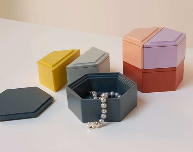 Stackable jewelry boxes.