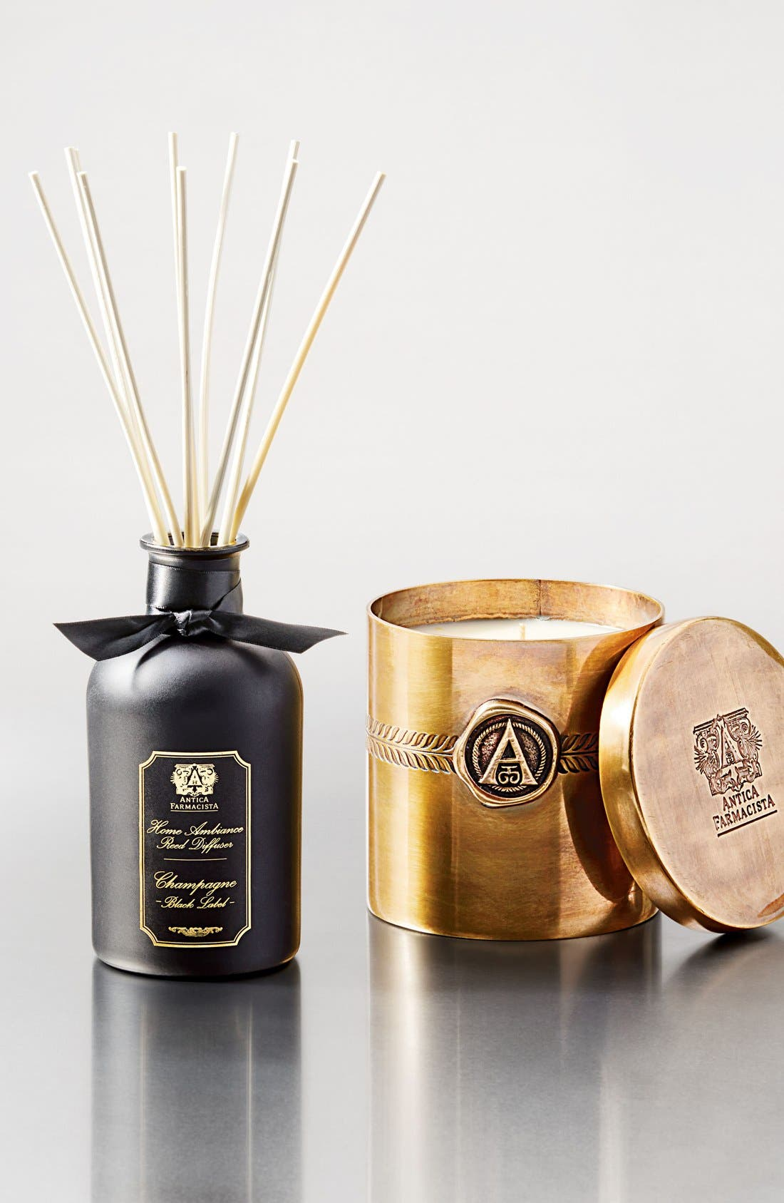ANTICA FARMACISTA,                             Champagne Black Label Three-Wick Brass Candle,                             Alternate thumbnail 3, color,                             000